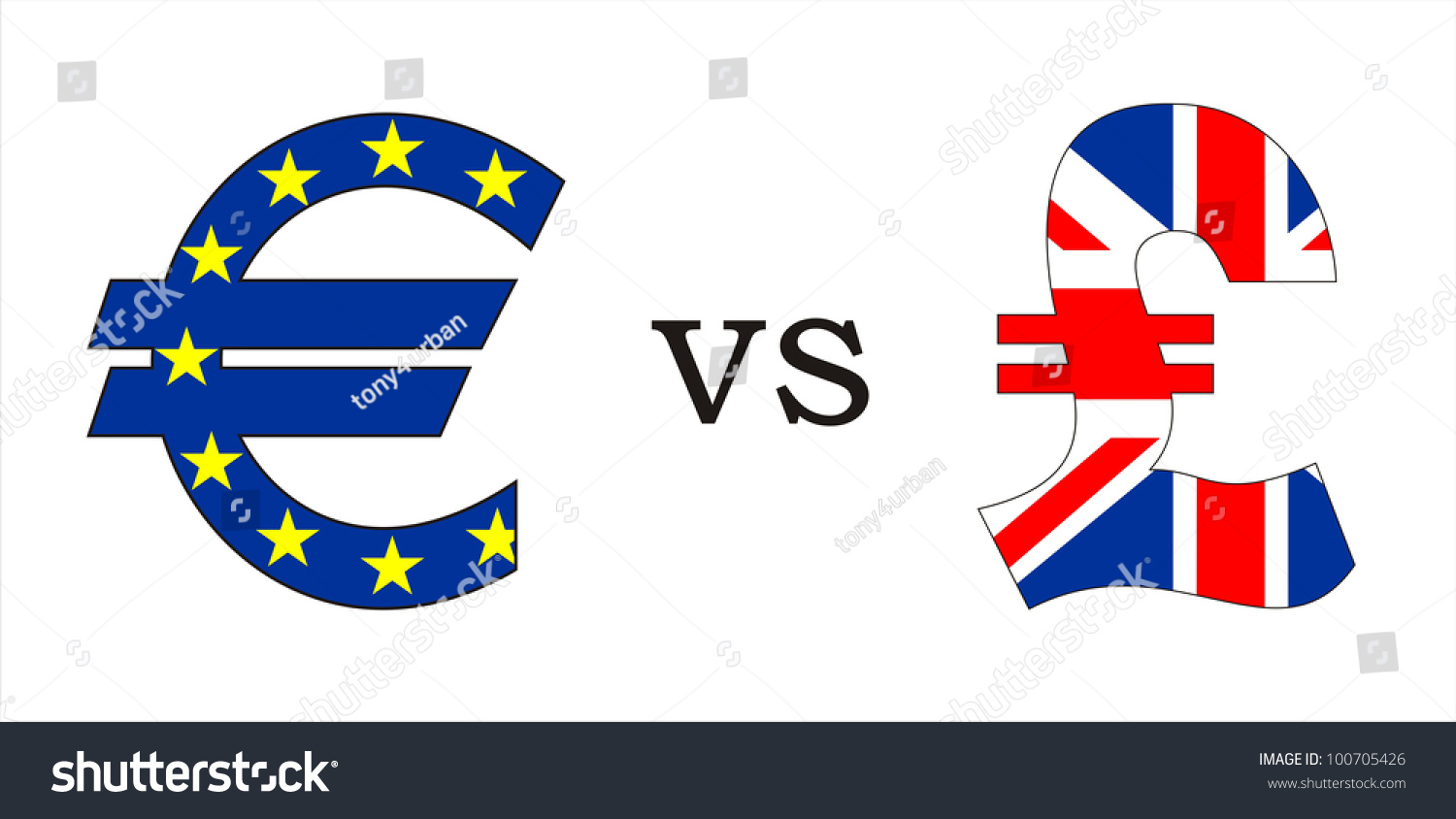 European Euro Versus British Pound Money Stock Illustration