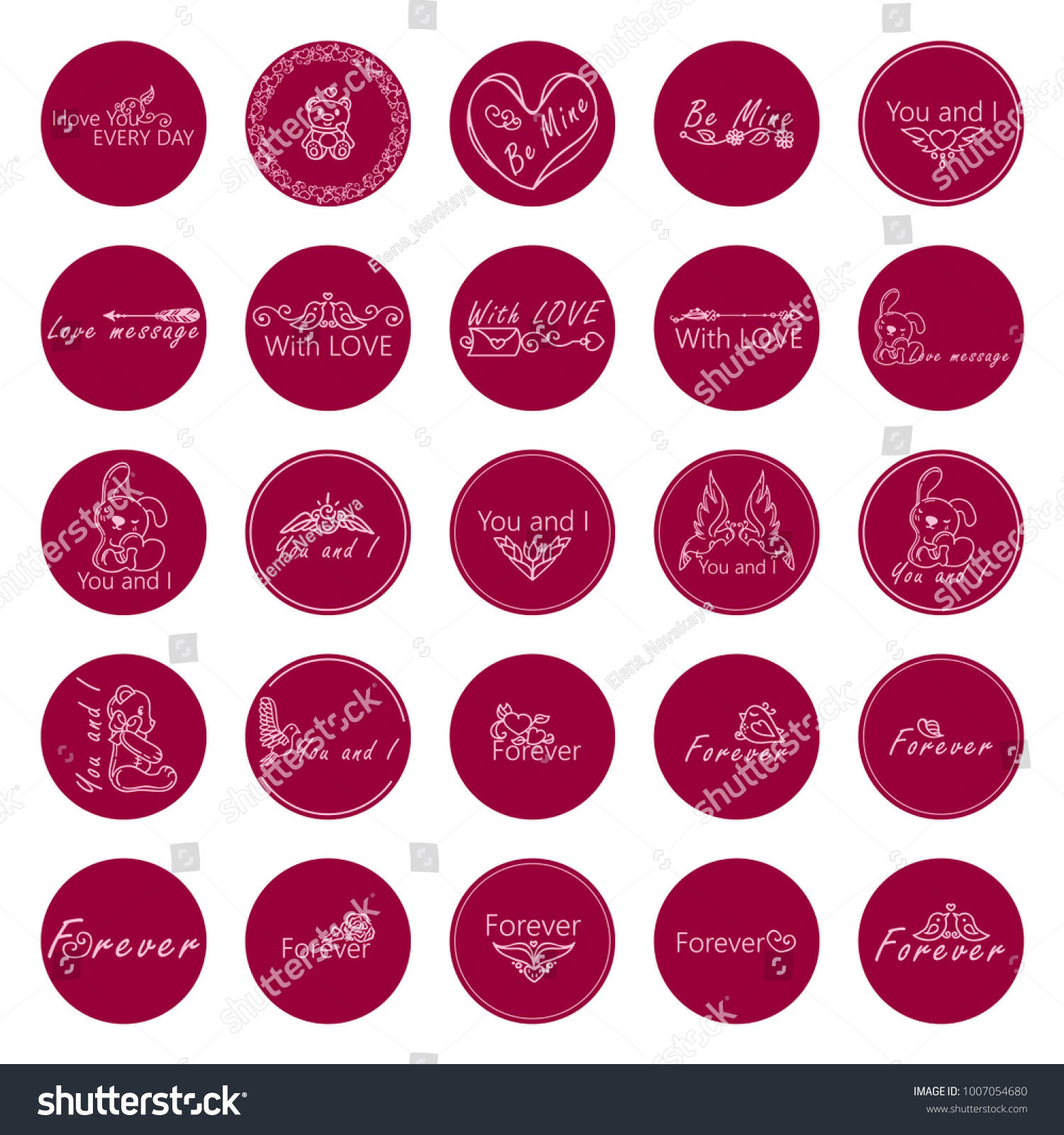Large vector collection of lovely round labels stickers for valentines day design sweet arts