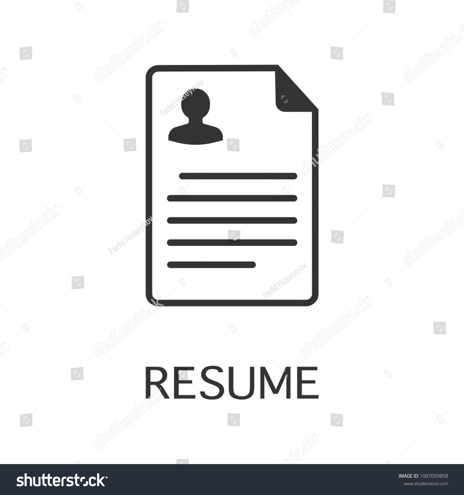 Resume Vector Icon Cv Symbol Flat Vector Illustration For Web Or