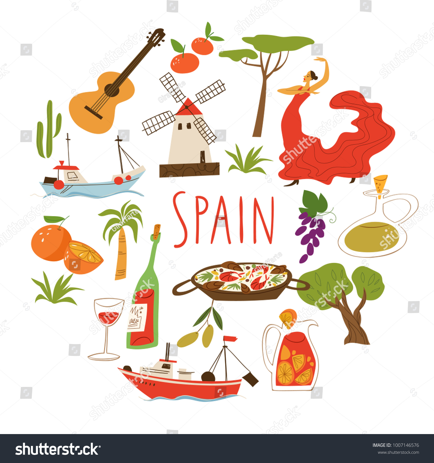 Vector symbols spain culture food architecture stock vector vector symbols of spain culture food and architecture buycottarizona Images