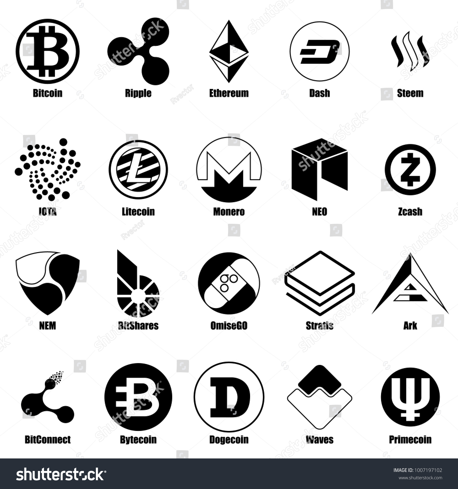Cryptocurrency types icons set simple illustration stock vector cryptocurrency types icons set simple illustration of 25 cryptocurrency types vector icons for web biocorpaavc