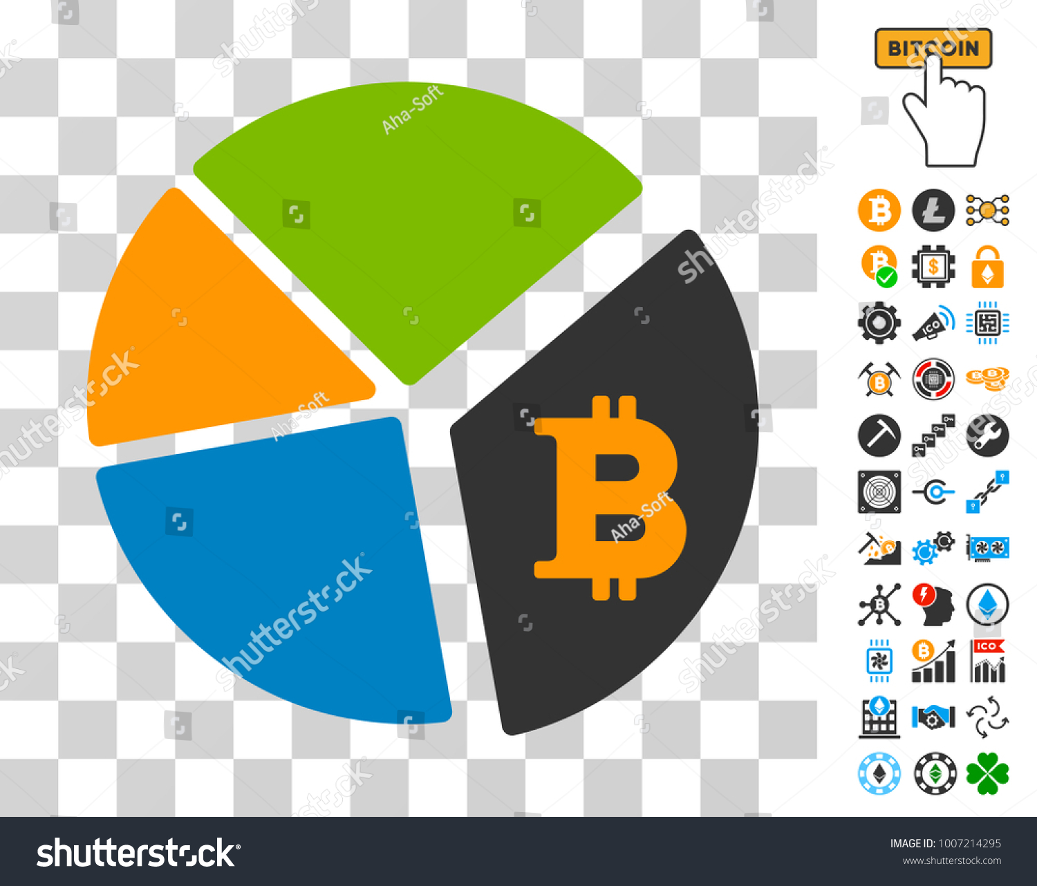 Bitcoin Pie Chart Pictograph Bonus Bitcoin Stock Vector Royalty