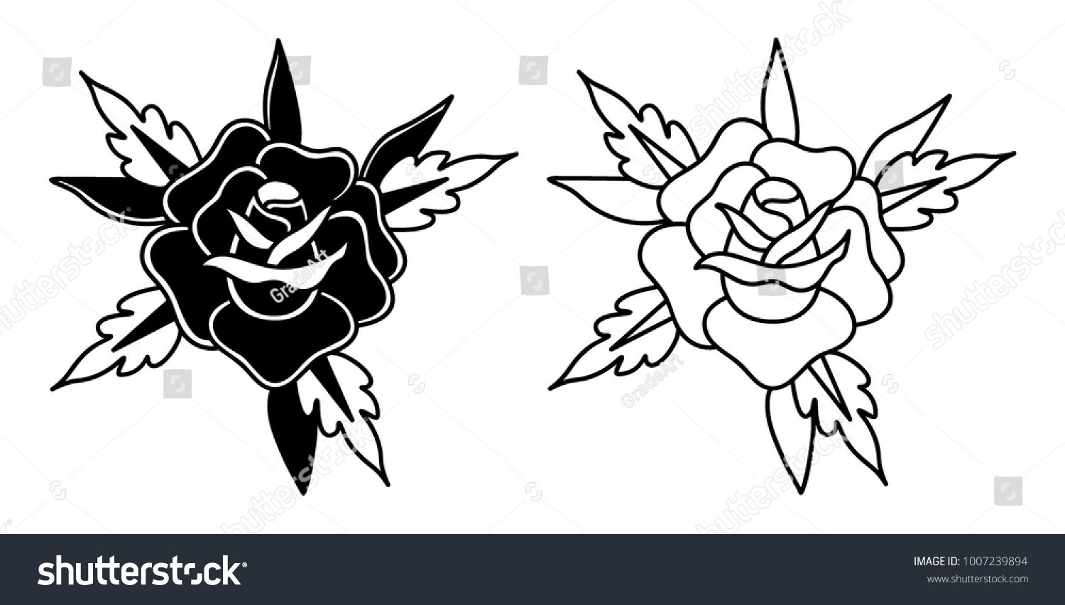 Black and white old school roses