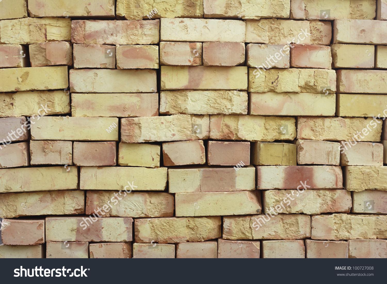 Wall Stacked Bricks New Bricks Made Stock Photo (Royalty Free ...