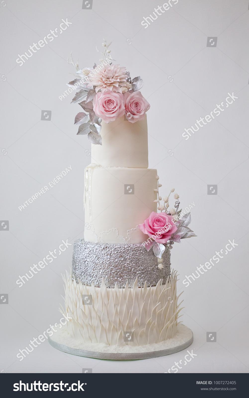 Four Tier White Silver Pink Wedding Stock Photo (Safe to Use ...