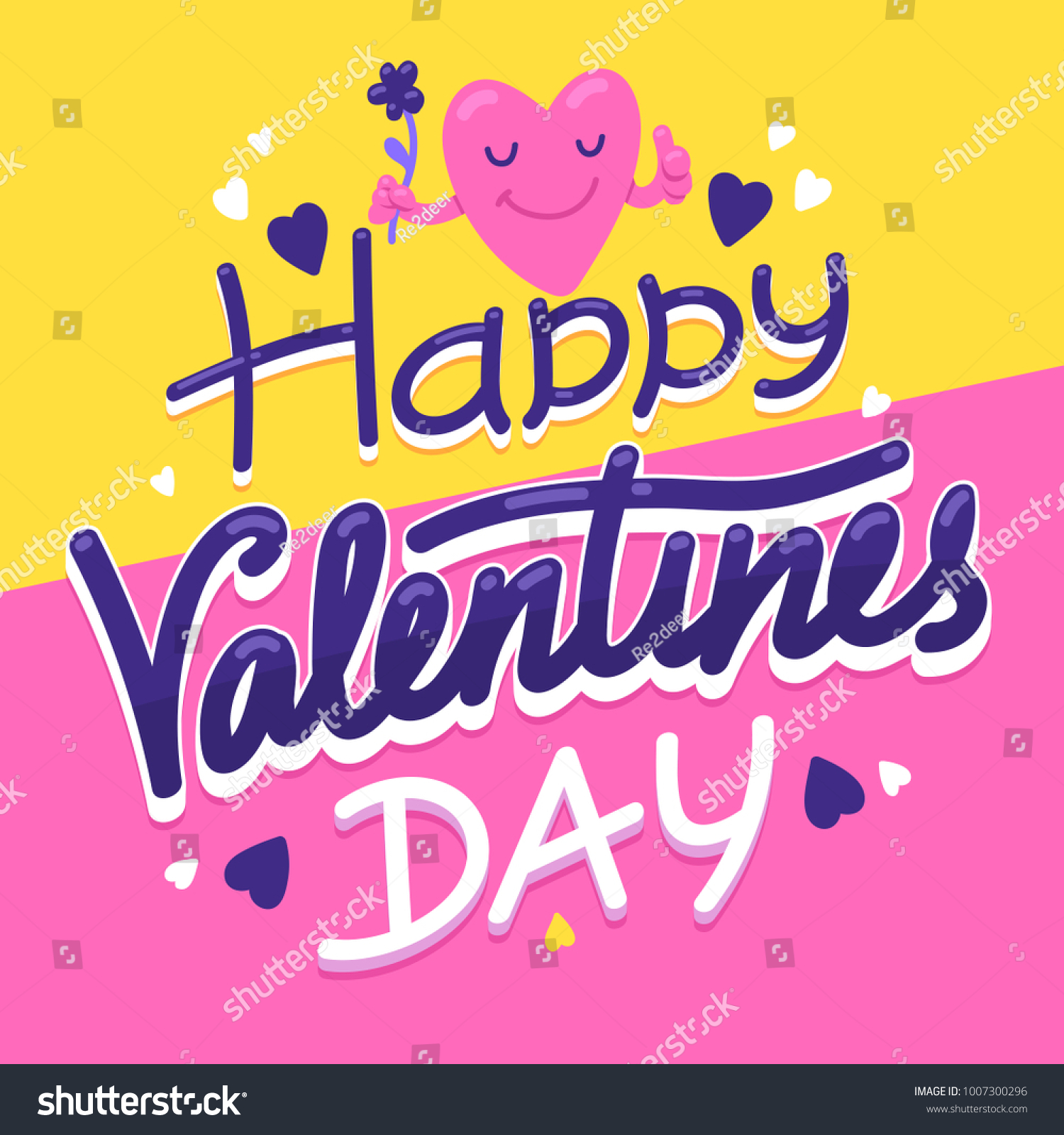 Happy Valentines Day Post Card Greeting Stock Vector 1007300296