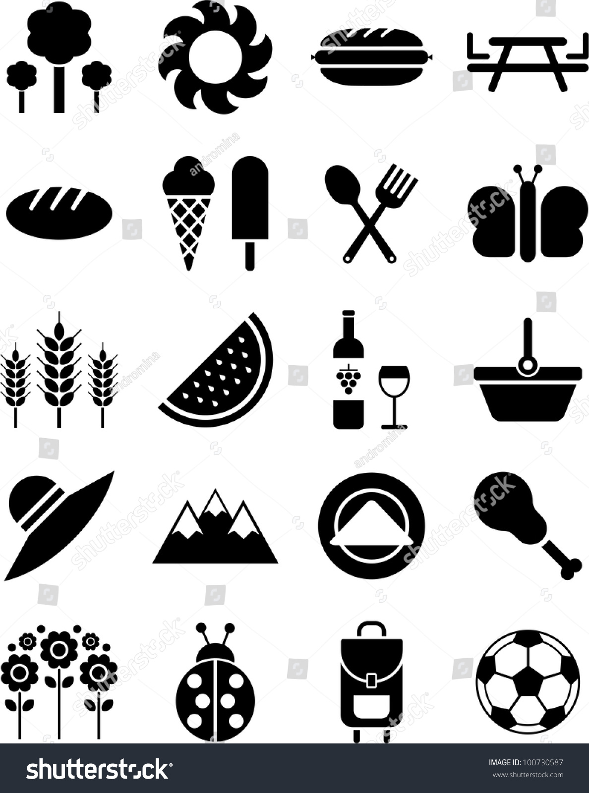 picnic icons stockvektorgrafik 100730587 shutterstock