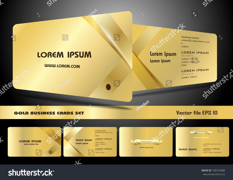 Gold Business Cards Set Stock Vector 100733488 - Shutterstock