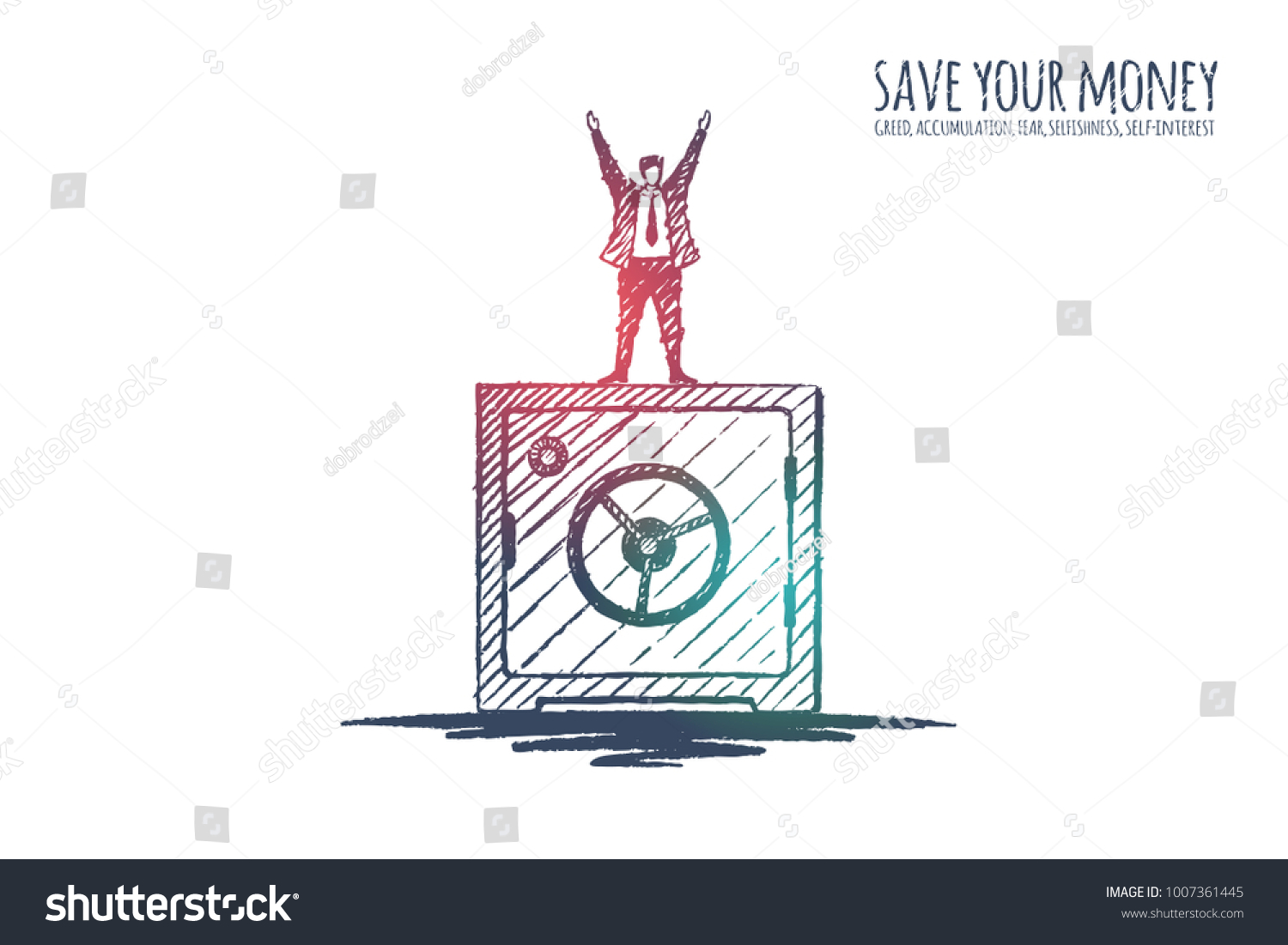 Save Your Money Satire Businessman Standing Stock Vector Royalty