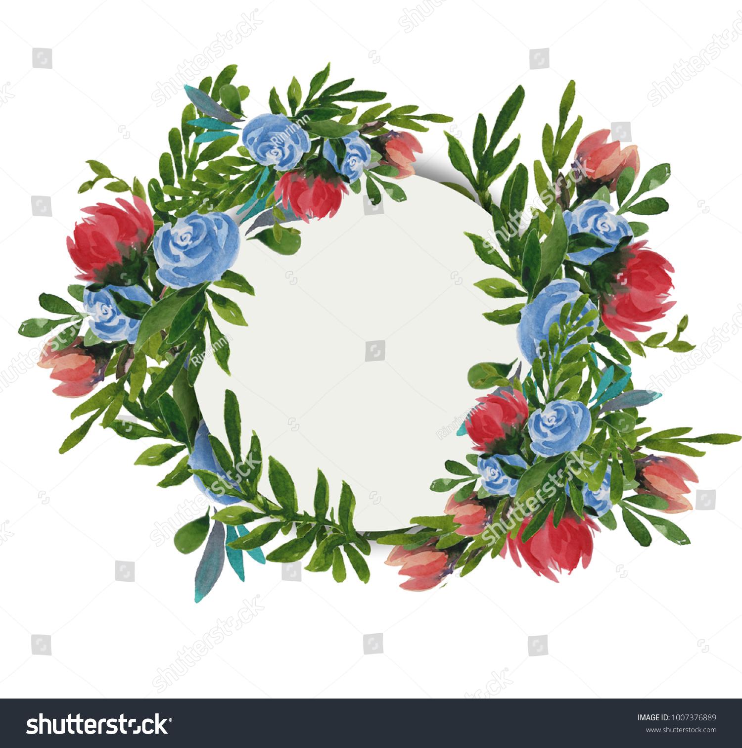 Design Banner Spring Plants Leaves Flowers Stock Illustration