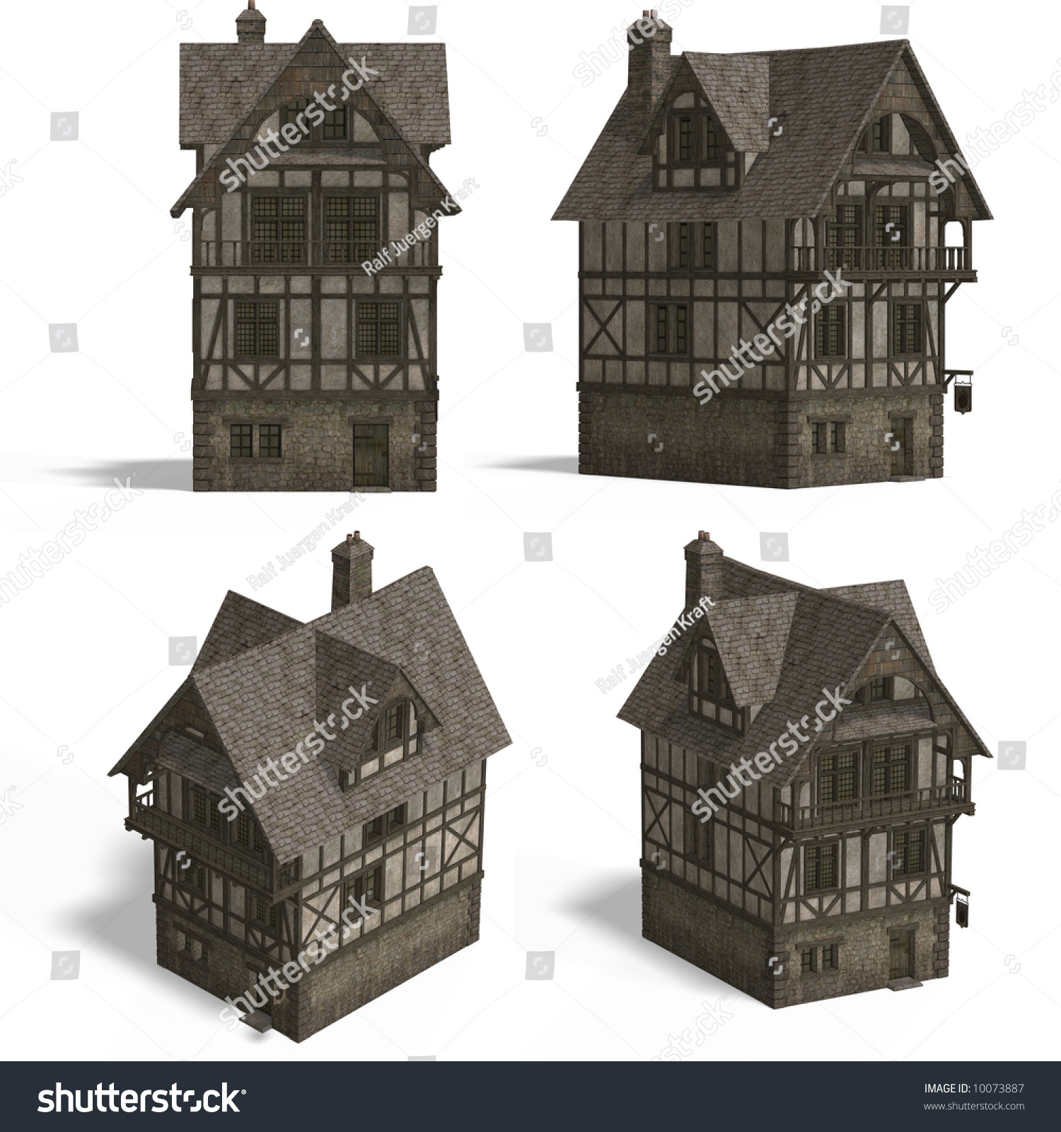 four views old fashioned house over stock illustration 10073887
