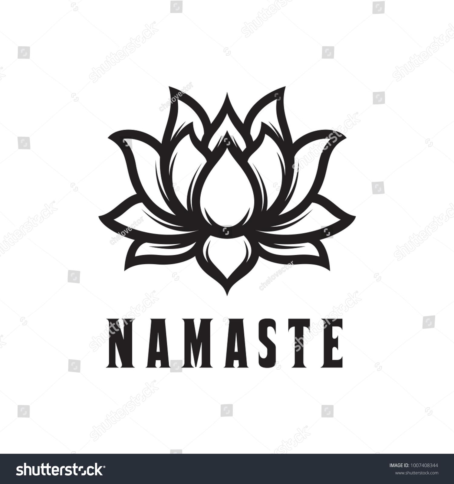 Namaste Sign Hello Hindi Lotus Flower Stock Vector Royalty Free