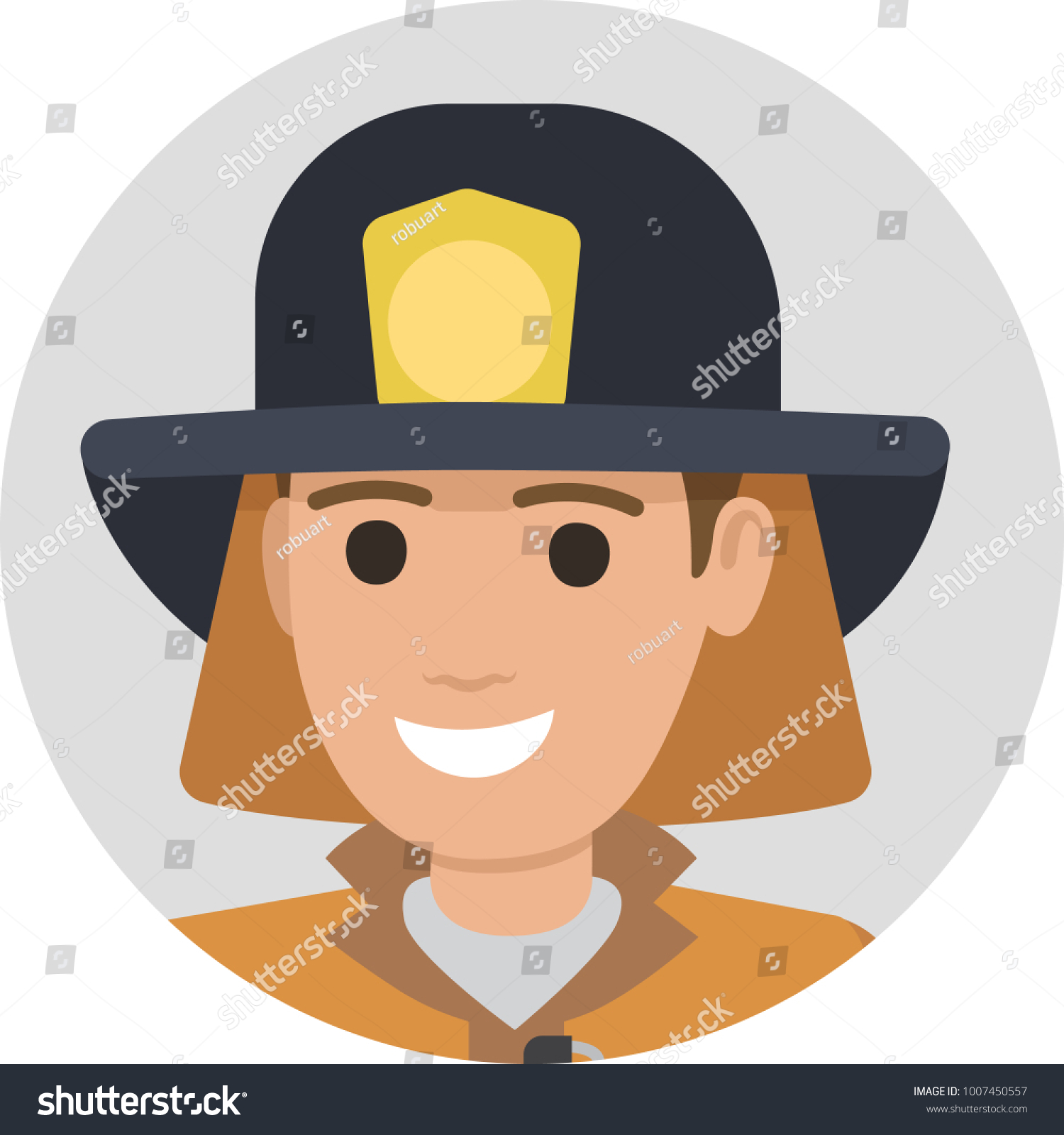 Cheerful firefighter in protective suit and black hat close-up illustration  on white background. Male character in fireman uniform - Illustration 4be9efbd6701