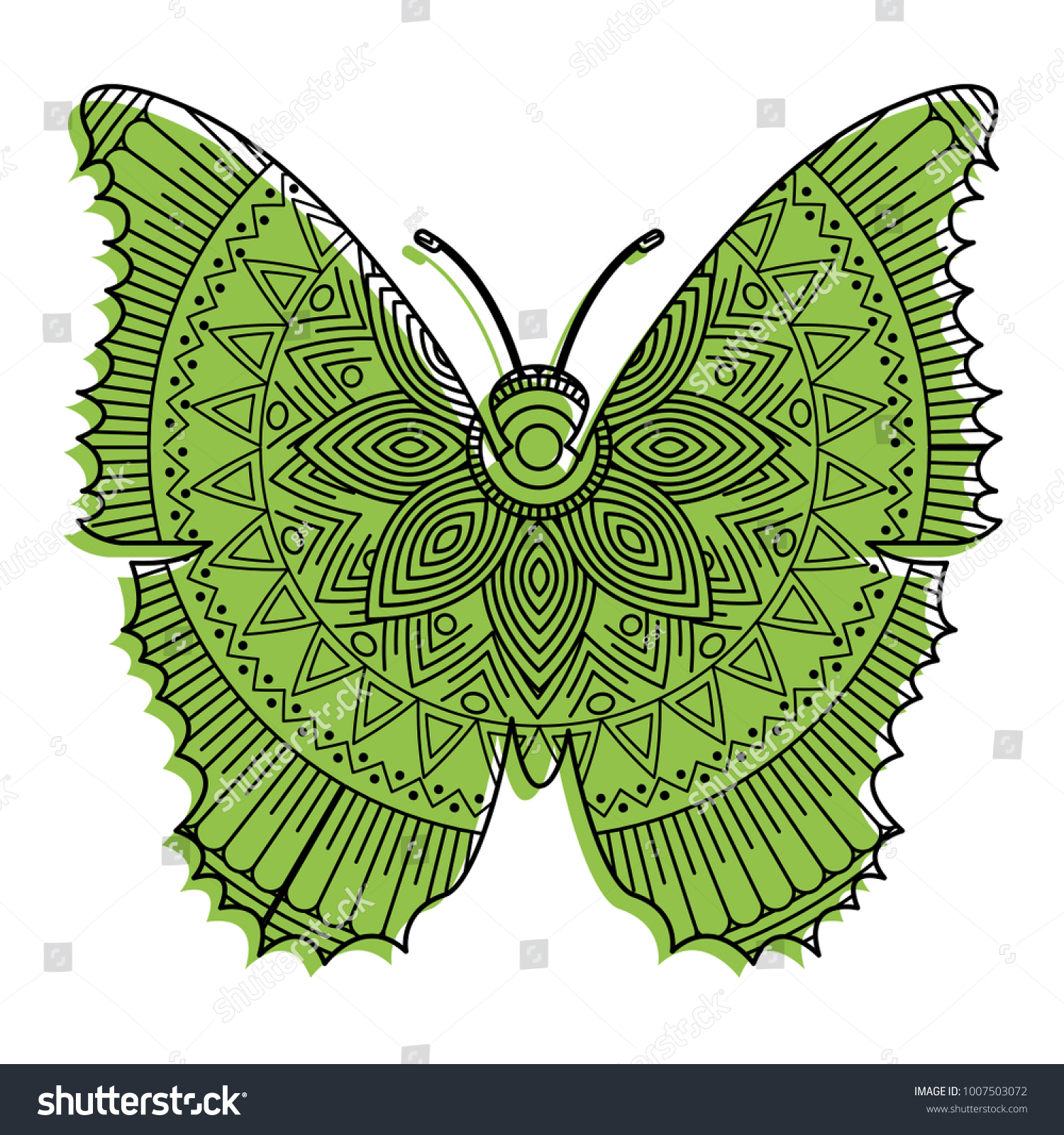 Hand Drawn Adult Coloring Pages Butterfly Stock Vector (2018 ...