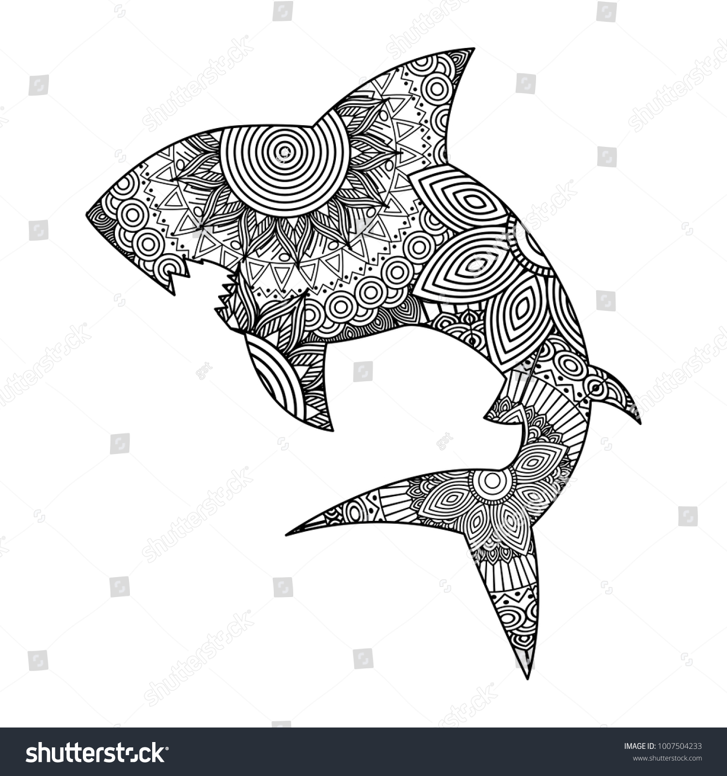 Hand Drawn Adult Coloring Pages Shark Stock Vector (Royalty Free ...