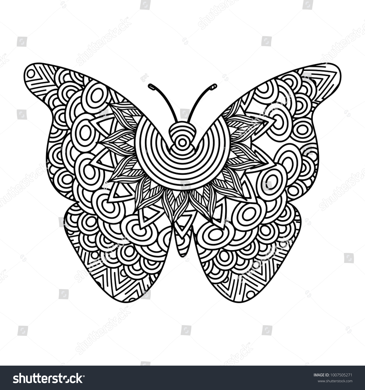 Hand Drawn Adult Coloring Pages Butterfly Stock Vector (Royalty Free ...