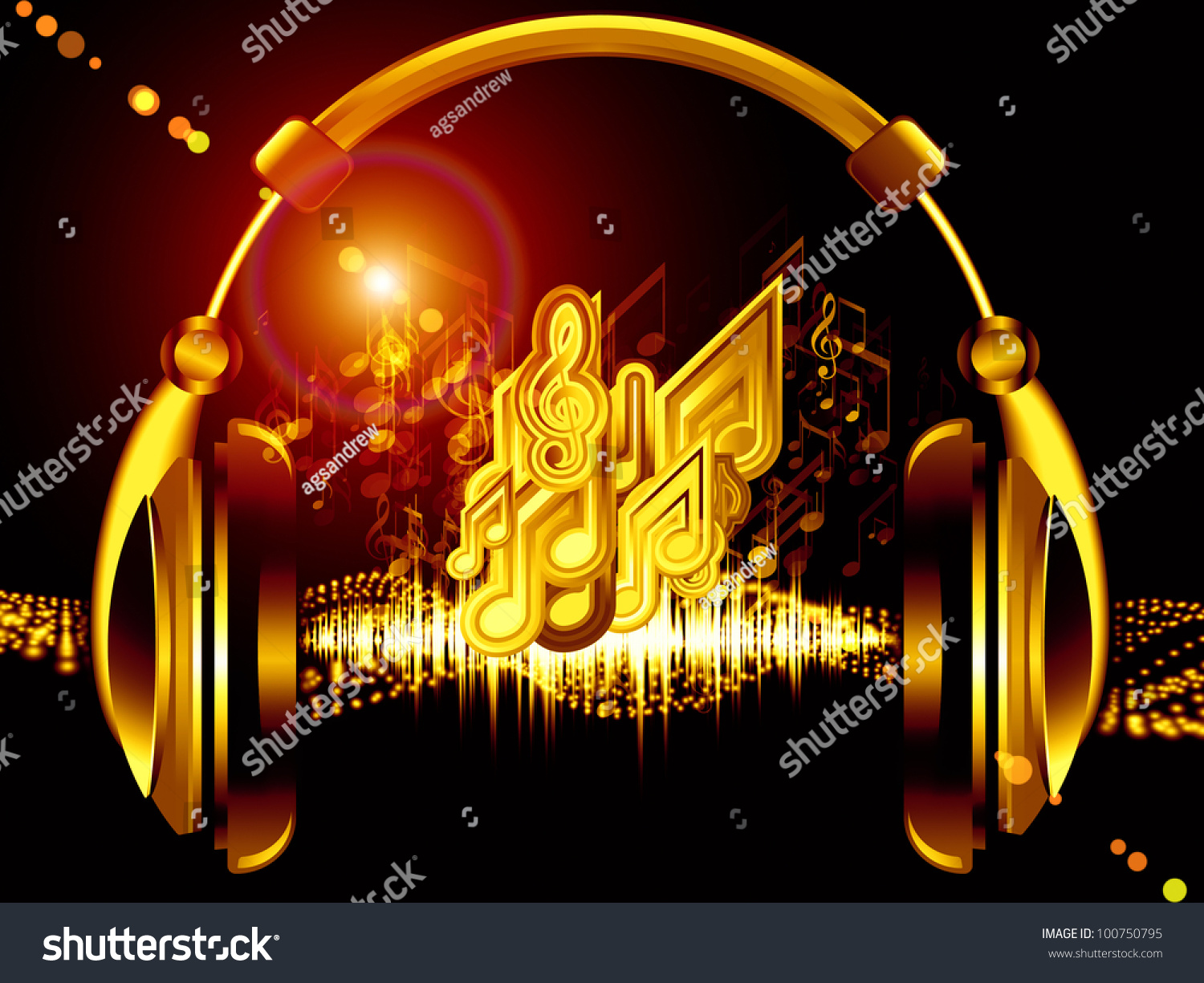 Headphones Music Notes: Composition Of Headphones, Musical Notes, Abstract Design