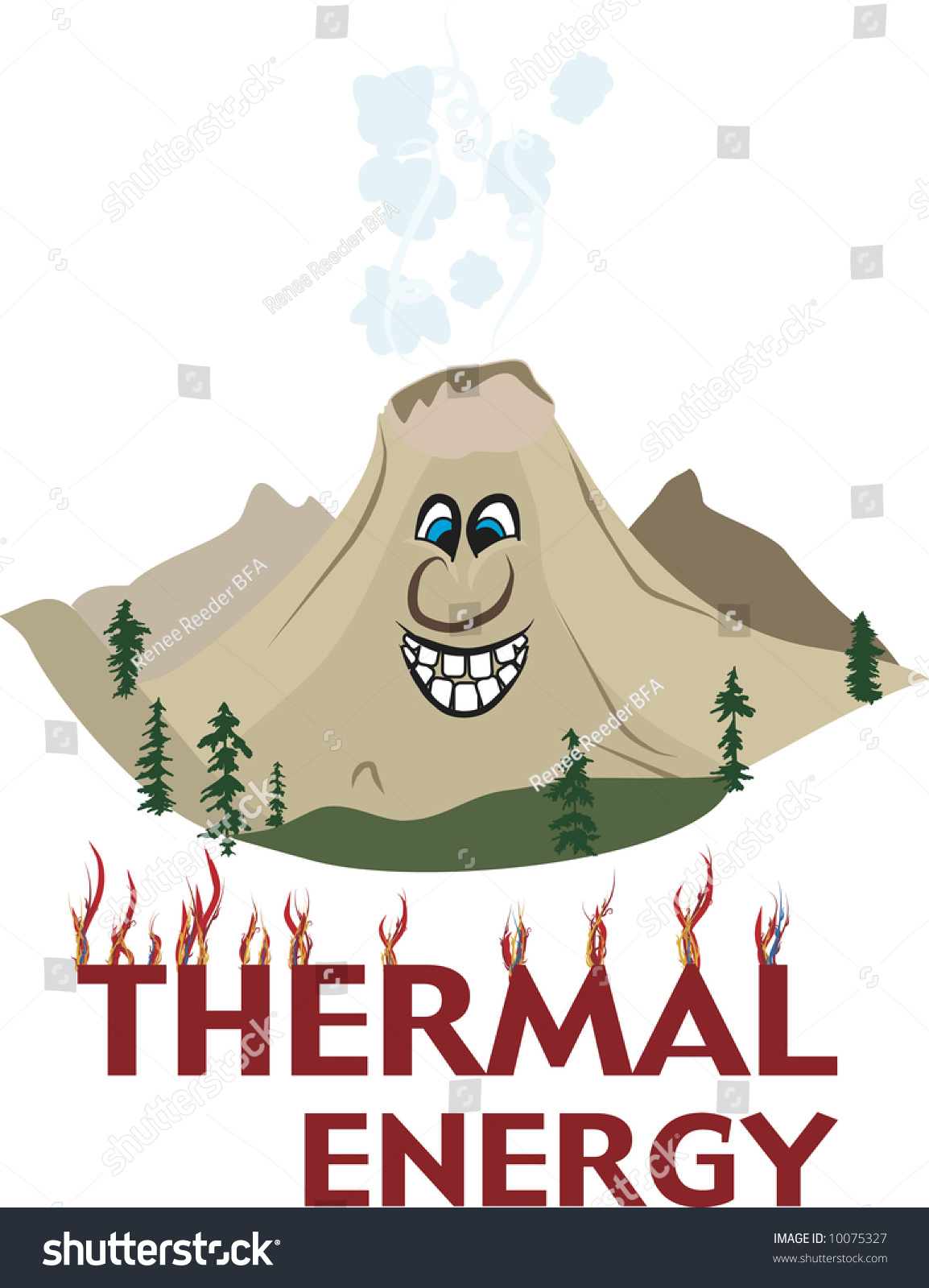 Cartoon Volcanic Mountain Full Of Thermal Energy Stock