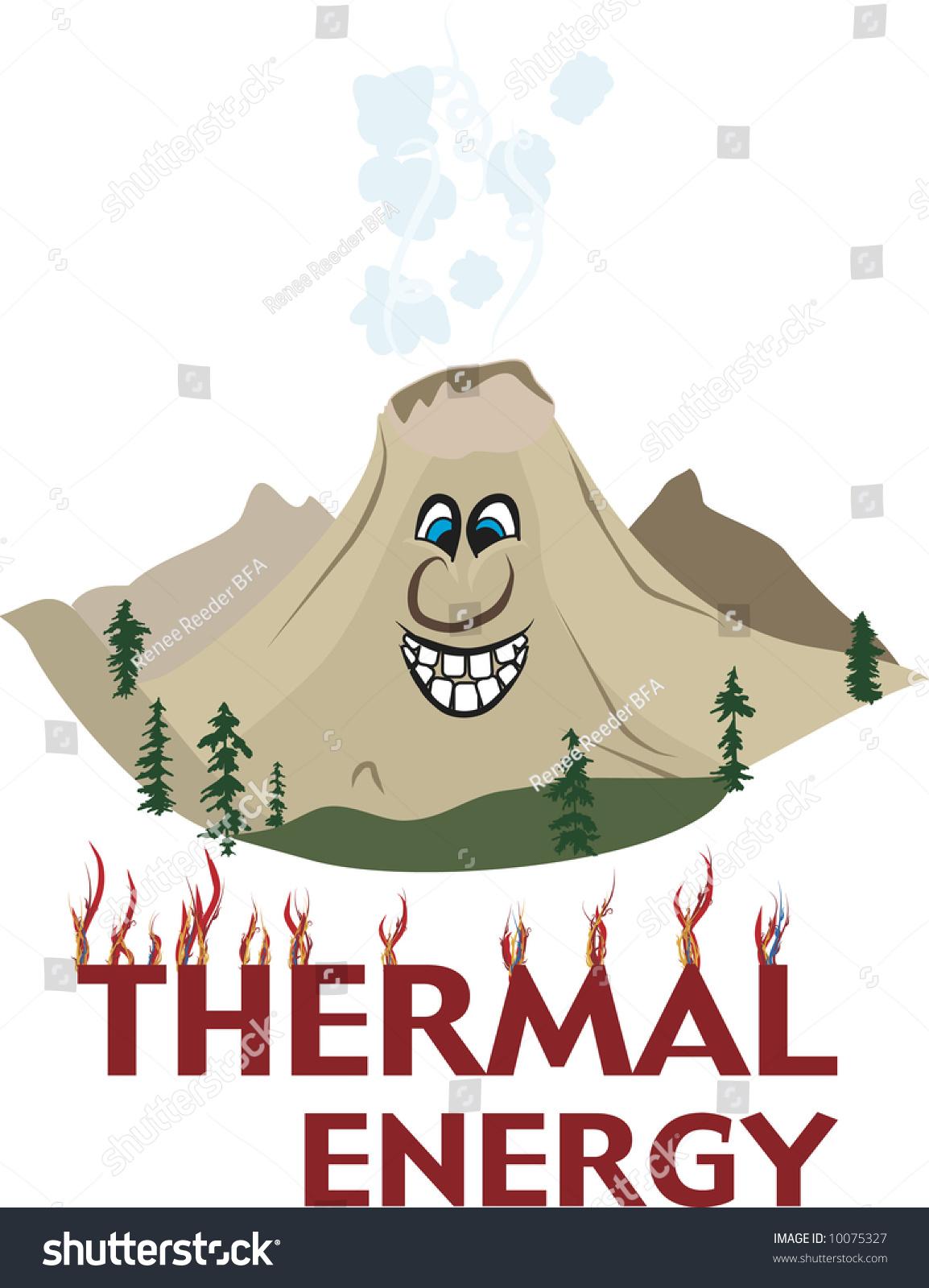 Cartoon Volcanic Mountain Full Of Thermal Energy Stock