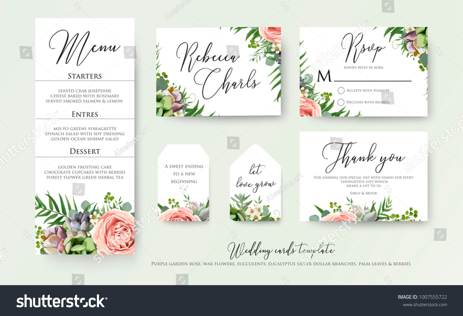 Wedding floral invite thank you, rsvp label cards Design: lavender pink violet garden rose, green tropical palm leaf greenery eucalyptus branches decoration. Vector elegant watercolor rustic template  #1007555722