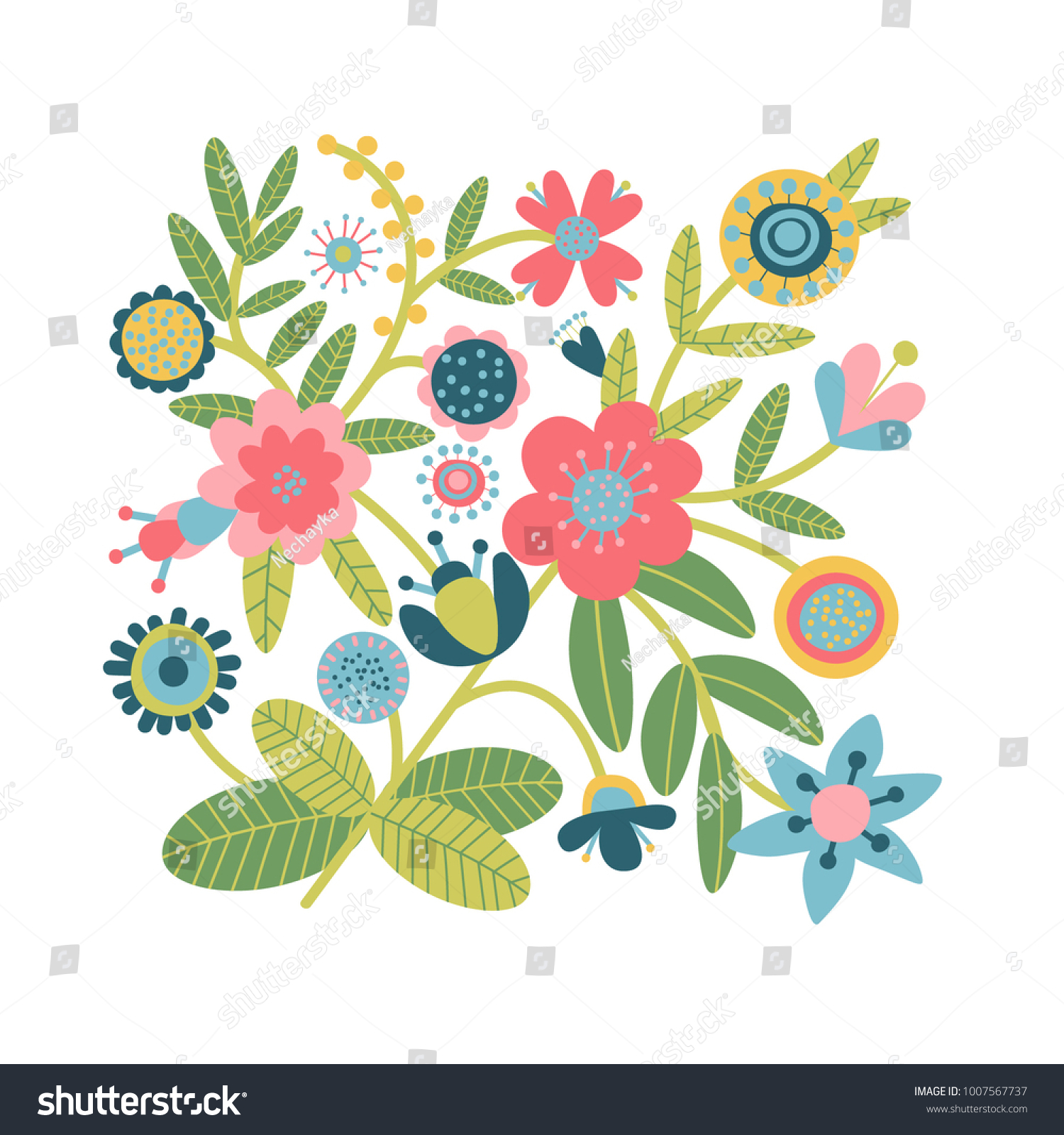 Beautiful Pattern Fantasy Flowers Flat Cartoon Stock Vector Royalty