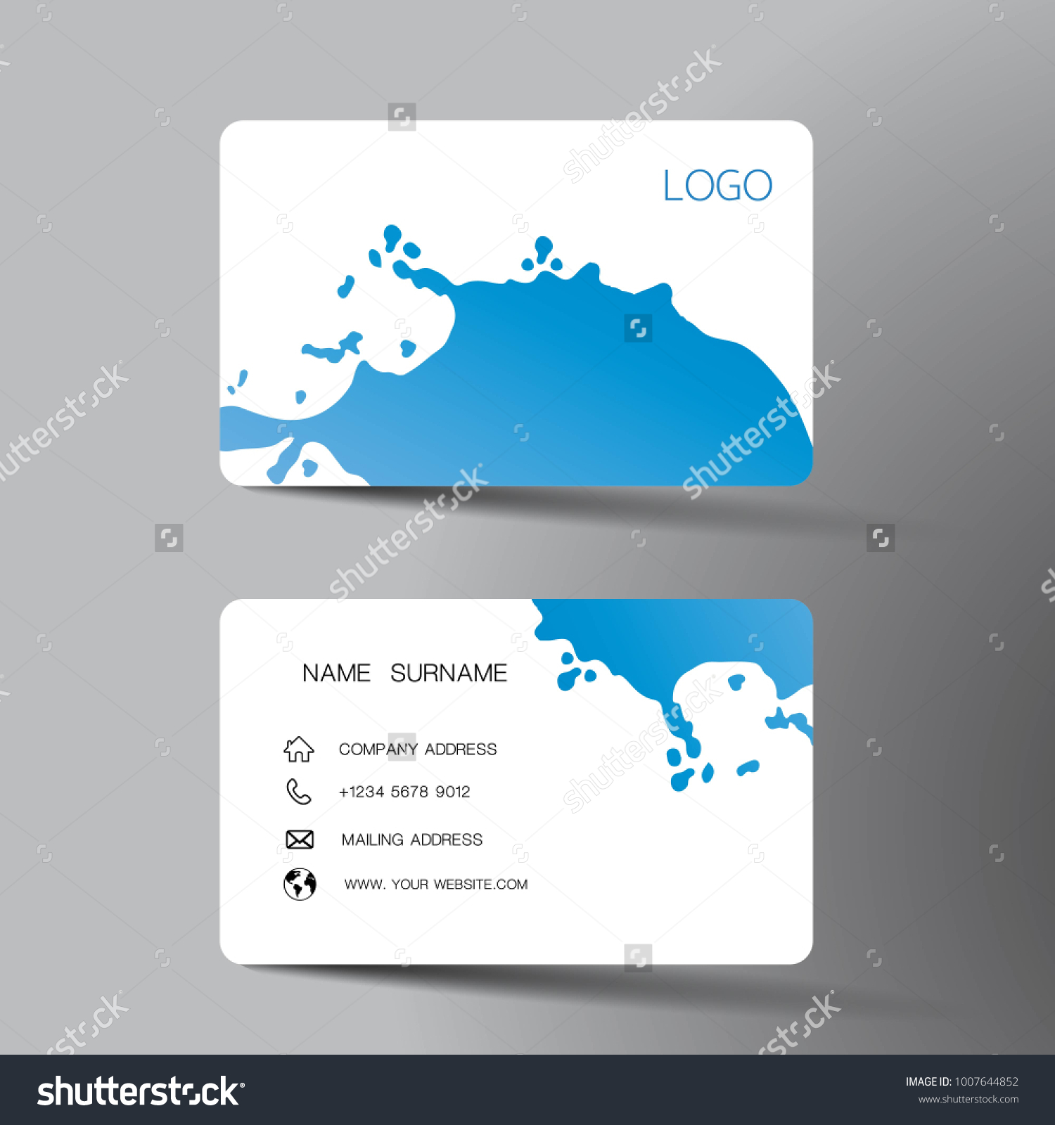 Blue White Business Card Template Design Stock Vector Royalty Free