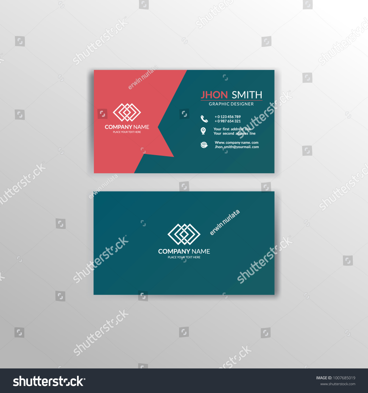 Business Card Design Layout Template Stock Vector 1007685019 ...