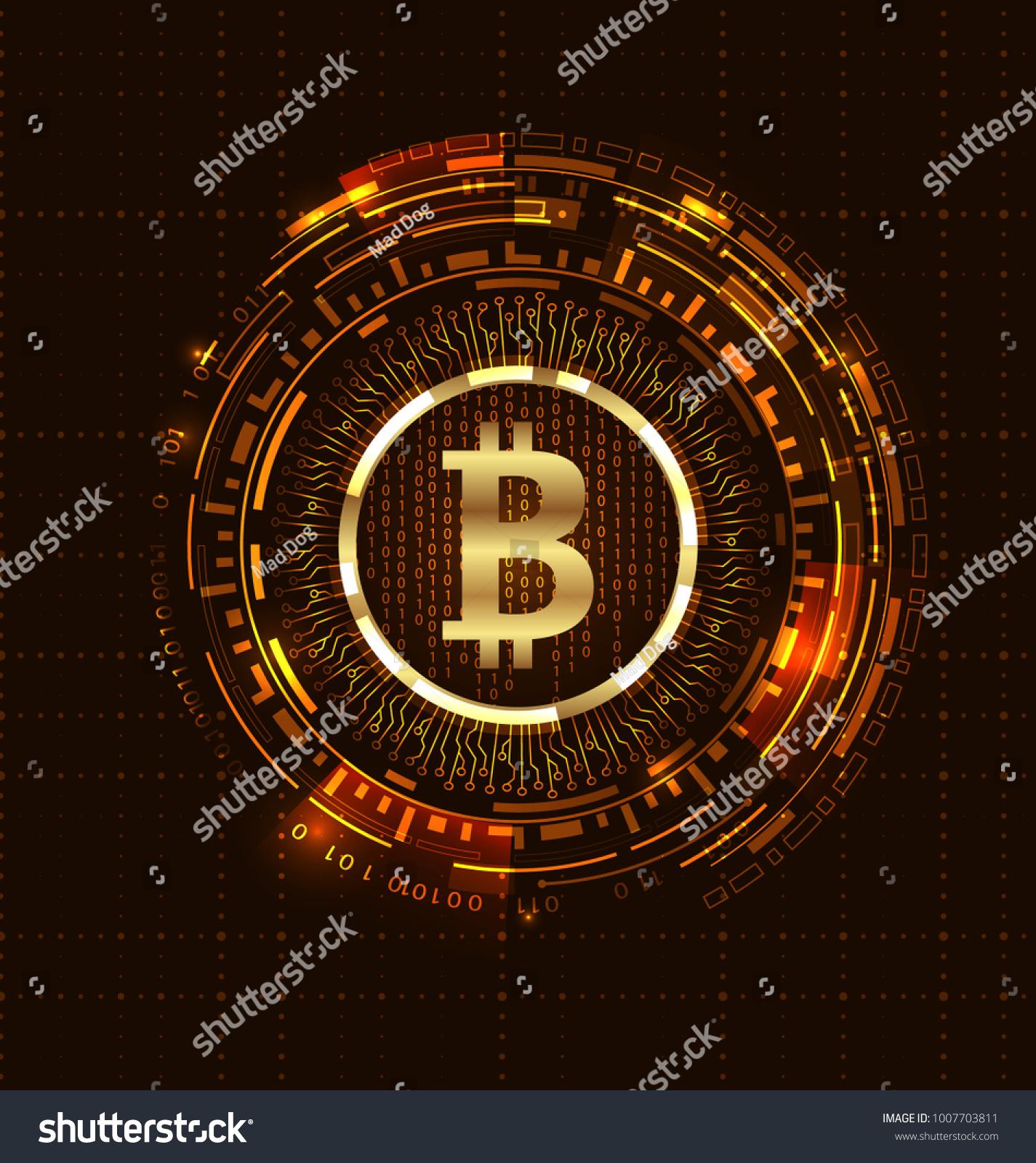 Golden Bitcoin Digital Currency Futuristic Money Stock Illustration