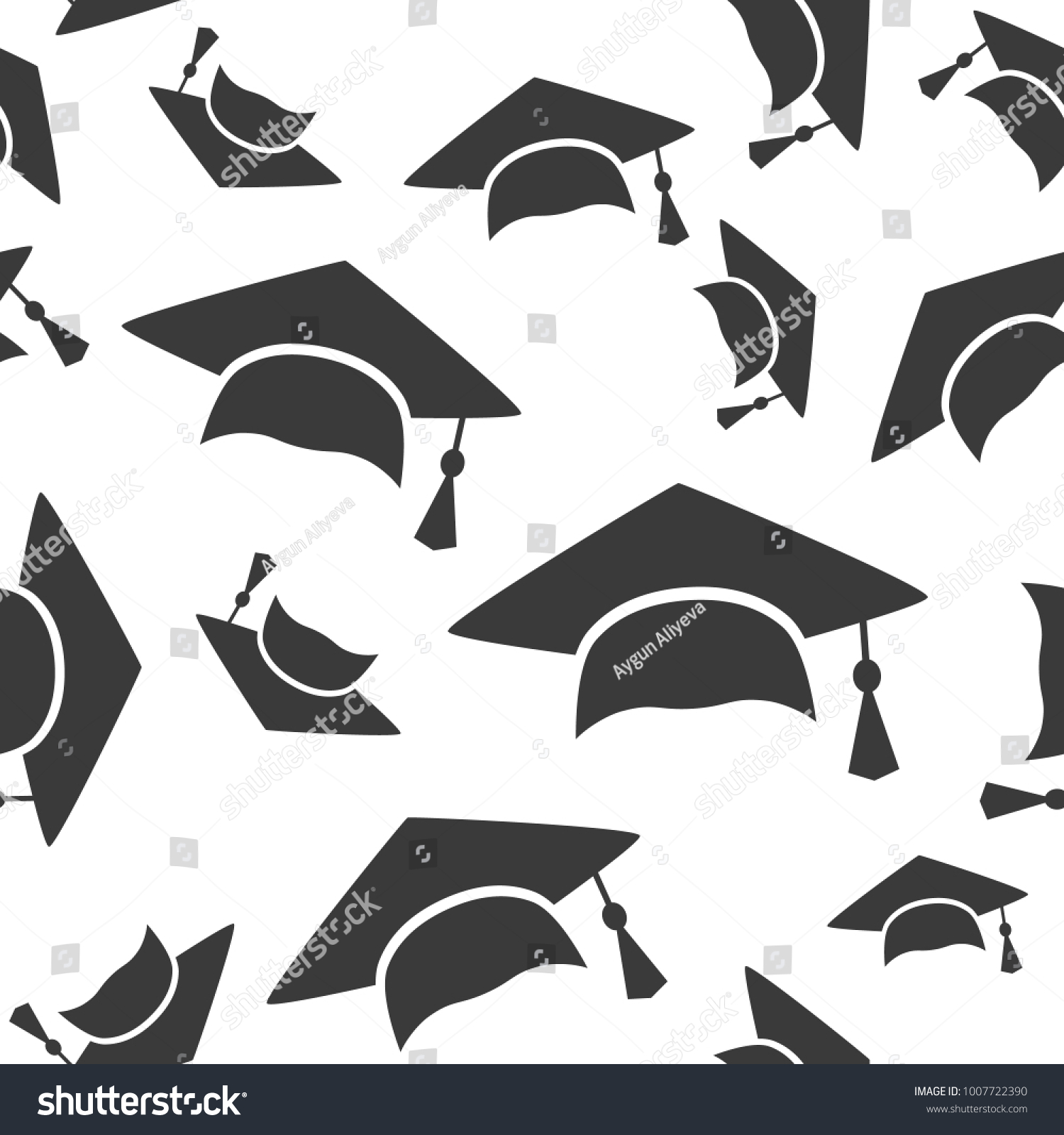 Graduation Cap Seamless Pattern Background Icon Stock Vector (2018 ...