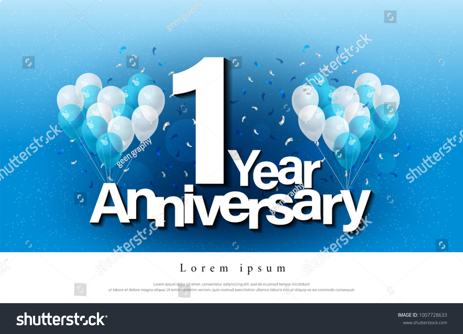 1st Year Anniversary Greeting Card Lettering Stock Vector Royalty