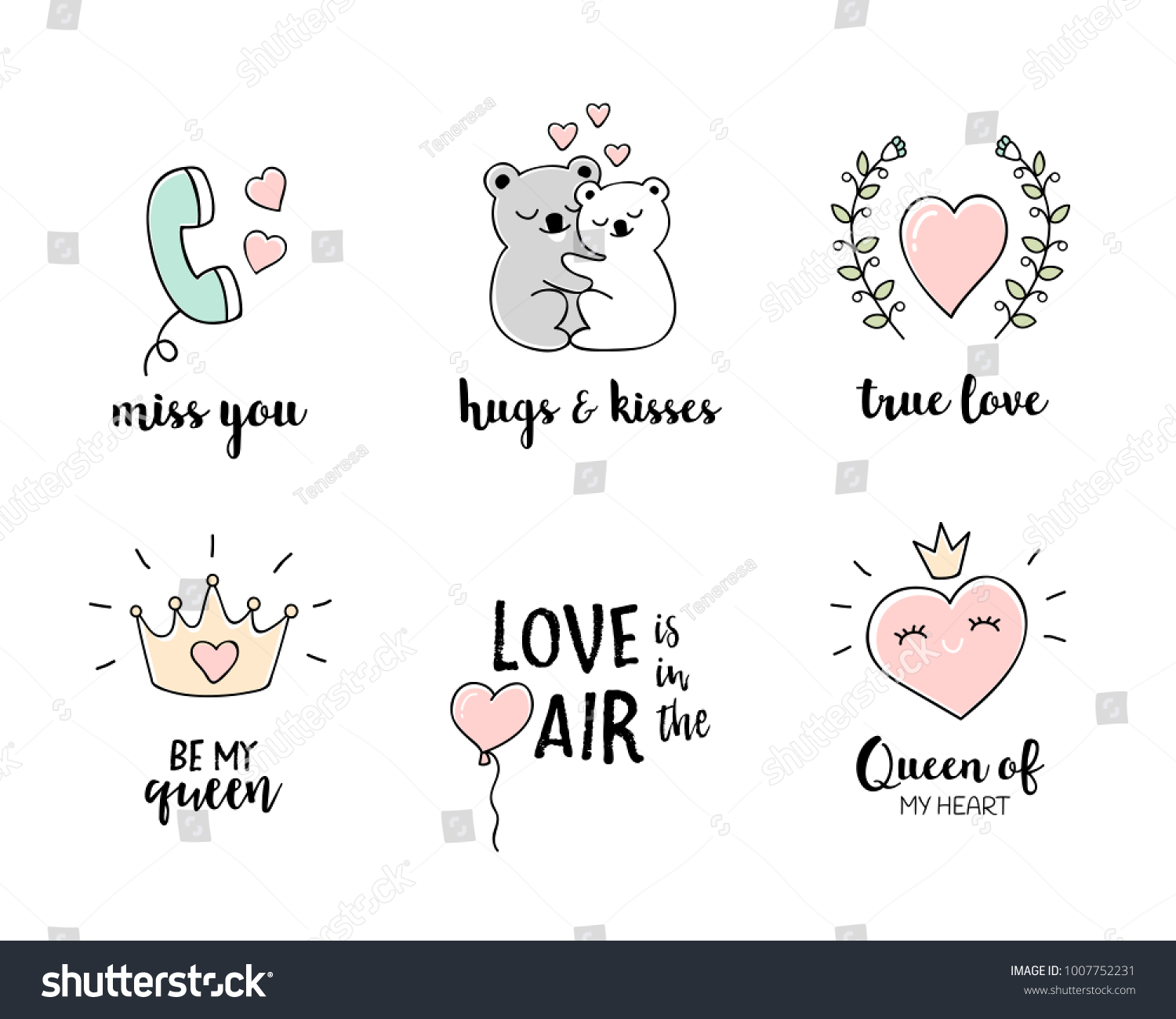 Love Doodles Set Hand Drawn Love Stock Vector Royalty Free