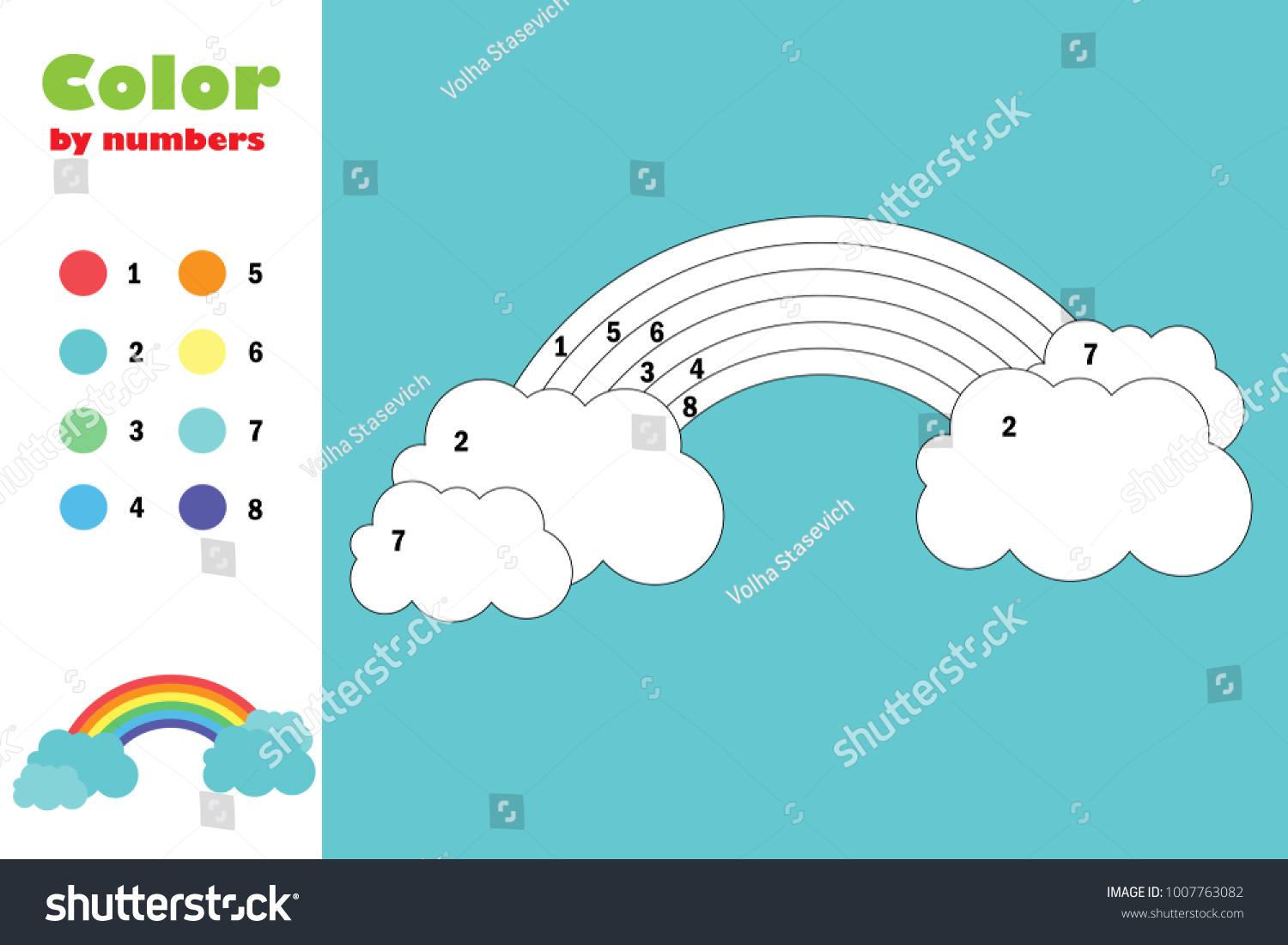 Colorful Rainbow Color By Number Education Stock Vector (Royalty ...