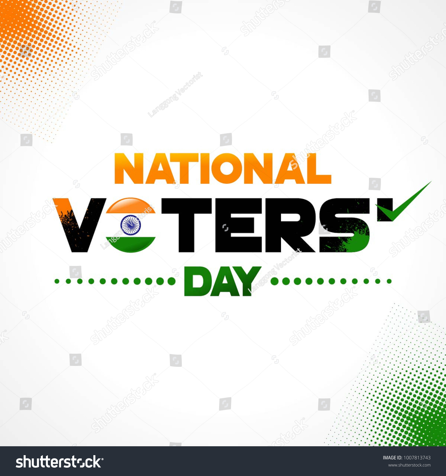 National Voters Day India Square Vector Stock Vector (Royalty Free