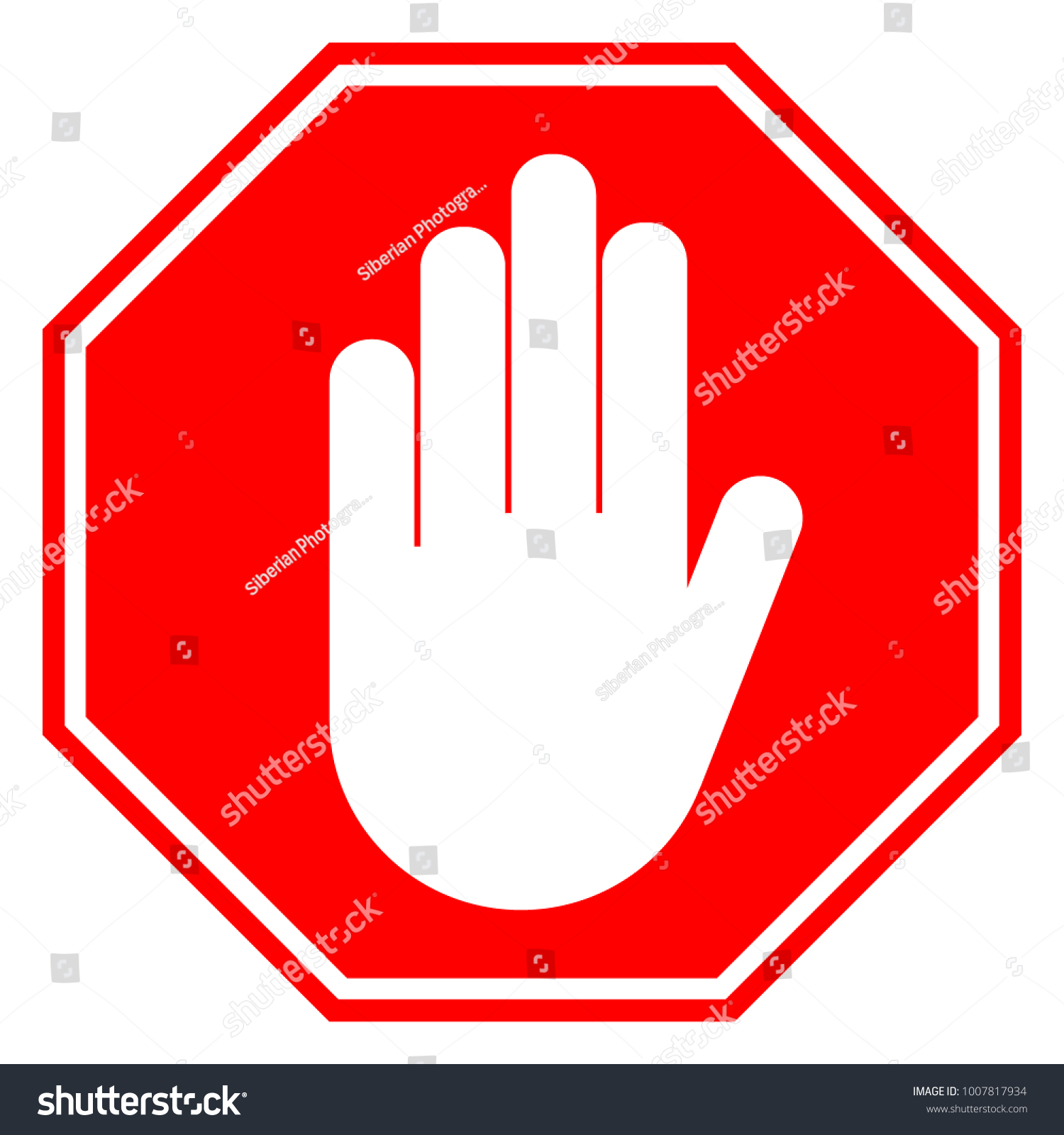 No Entry Sign Stop Hand Gesture Stock Vector Royalty Free