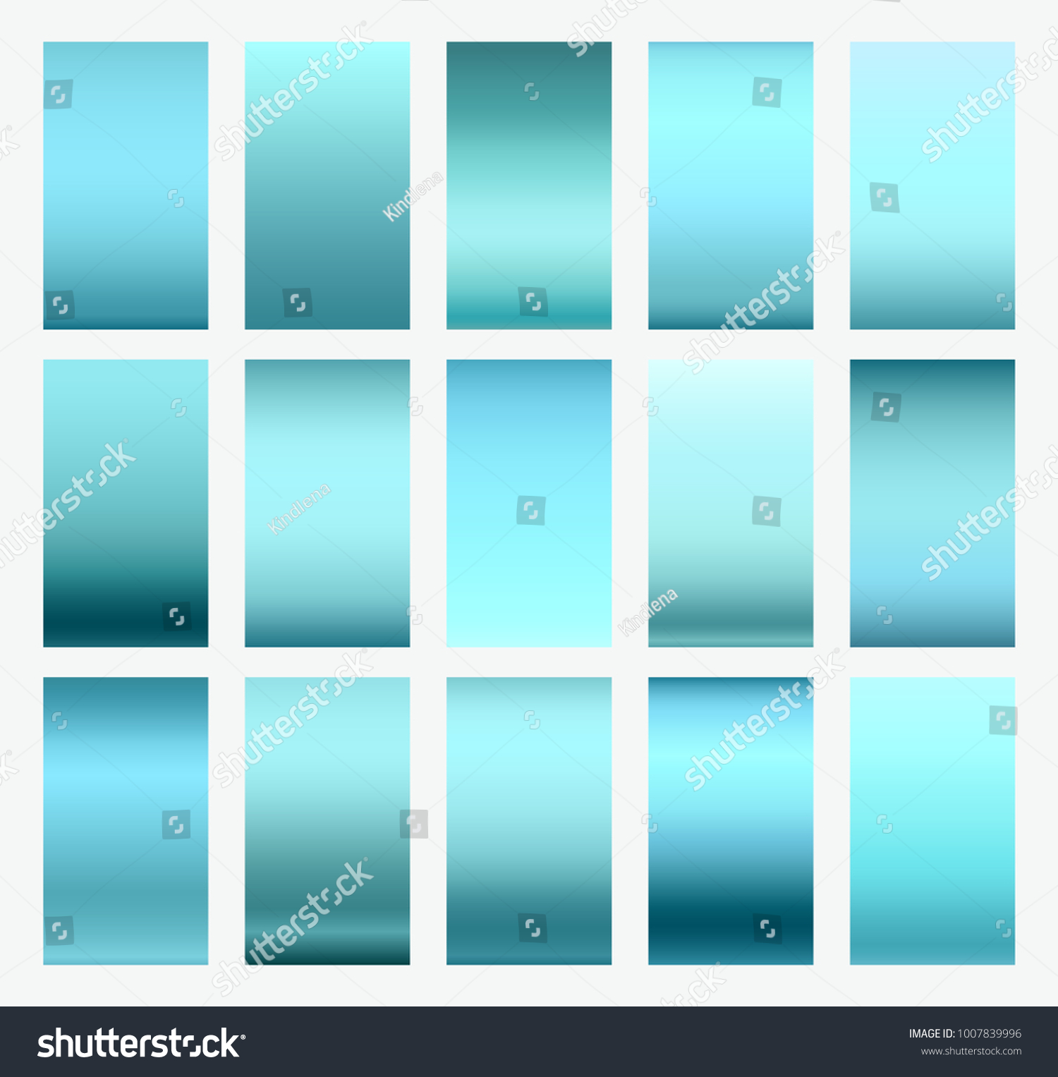 Gradient Blue Background Set Vector Modern Bright Turquoise Elegant Soft Color And Screen Interface