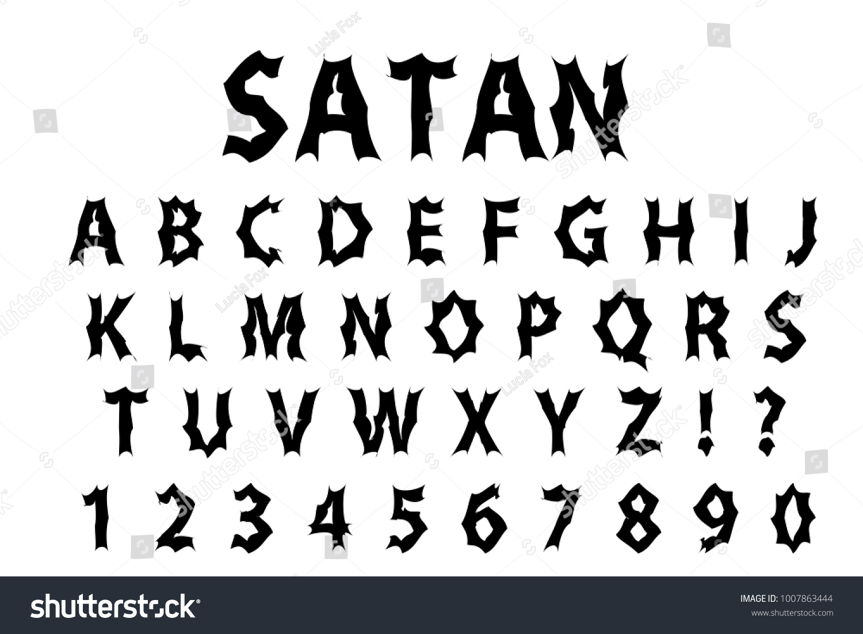 Satan typography scary font lettering typeface stock vector satan typography scary font lettering typeface gloomy hellouvin style trendy alphabet rock goth biocorpaavc