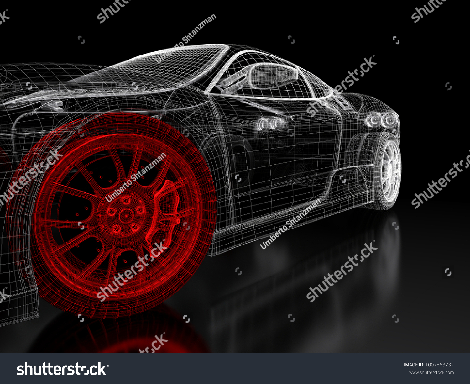 Car vehicle 3d blueprint mesh model ilustracin en stock 1007863732 car vehicle 3d blueprint mesh model with a red wheel tire on a black background malvernweather Choice Image