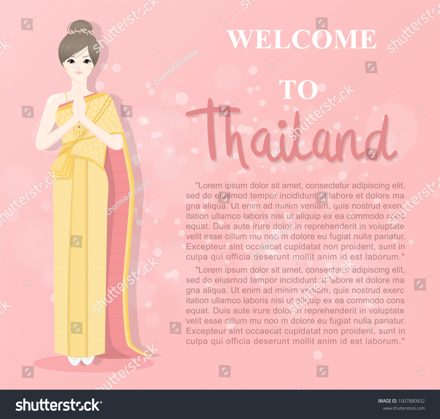 Thai Lady Thai Traditional Costume Greetings Stock Vector Royalty
