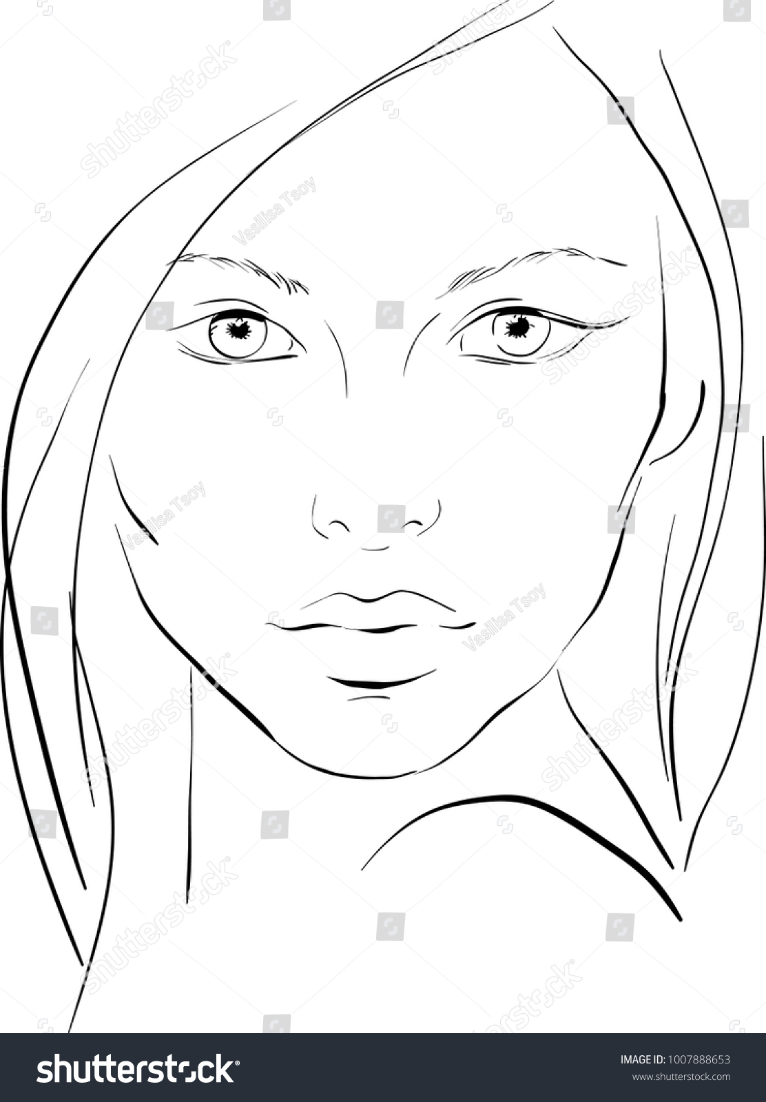 Face Chart Makeup Artist Blank Template Image Vectorielle De Stock