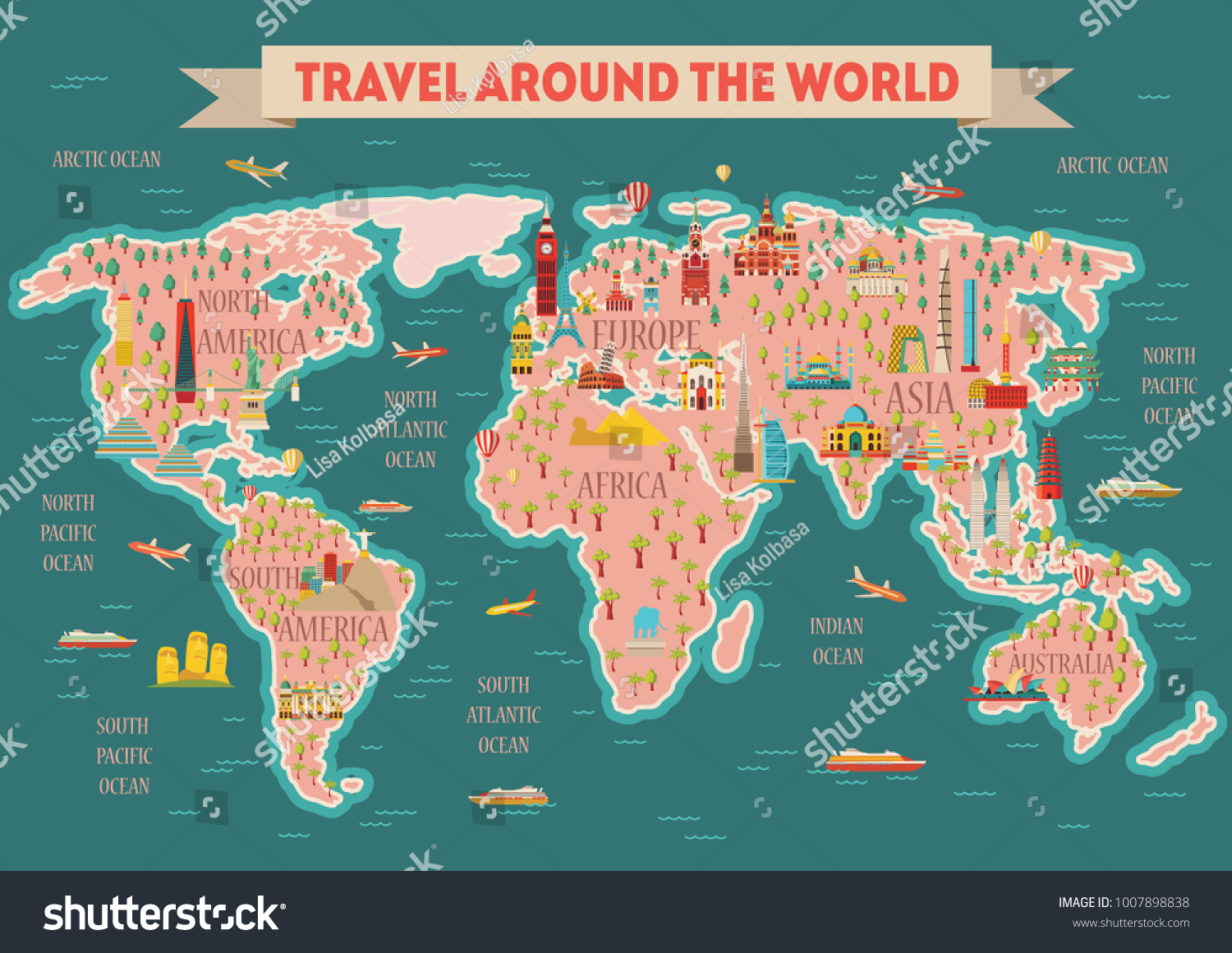 World travel map poster travel tourism stock vector hd royalty free world travel map poster travel and tourism background vector illustration publicscrutiny Image collections