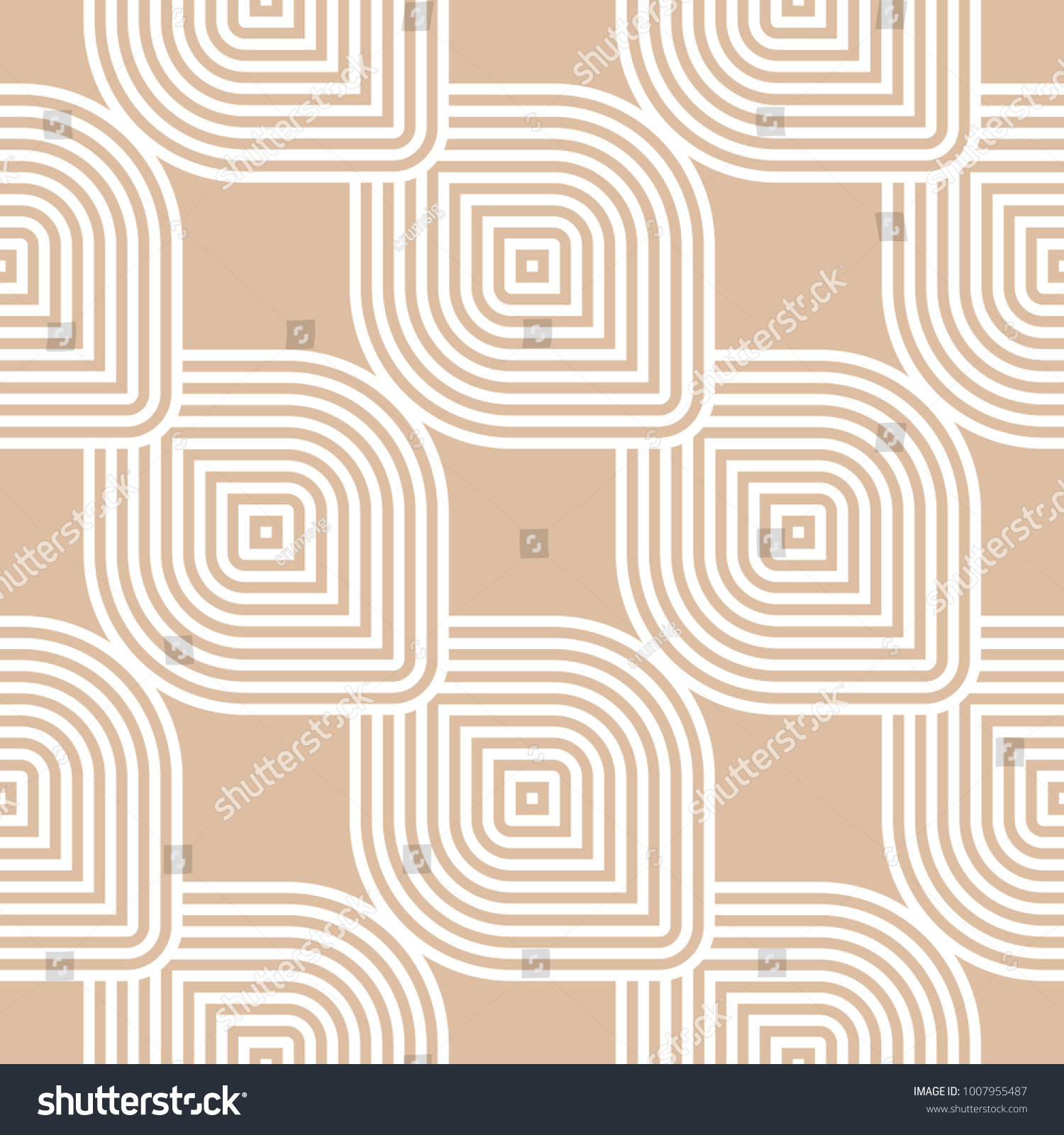 Beige And White Geometric Ornament Seamless Pattern For Web, Textile