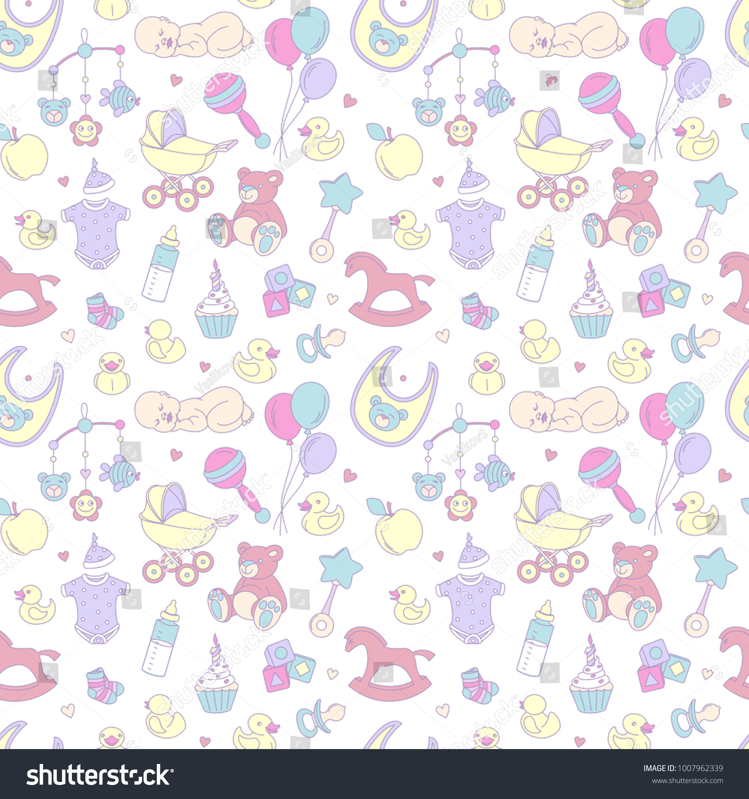 Newborn Baby Shower Seamless Pattern Textile Stock Illustration