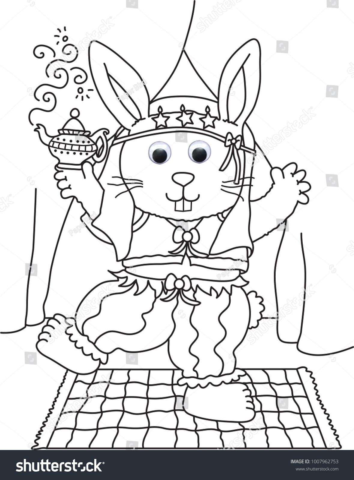Dress Bunny Colouring Images Kids Colouring Stock Illustration ...