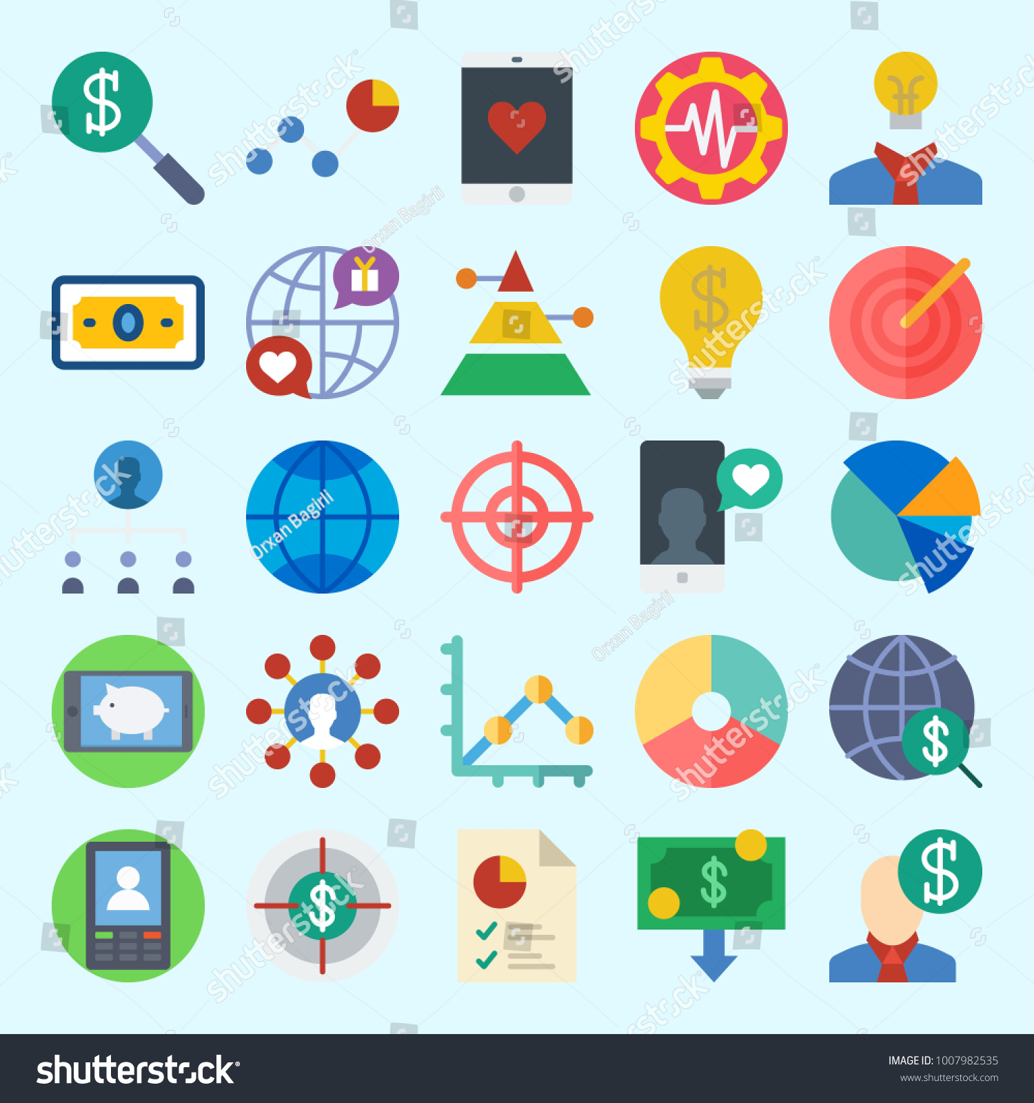 Icons set about marketing search internet stock vector 1007982535 icons set about marketing with search internet money line graph settings and geenschuldenfo Gallery