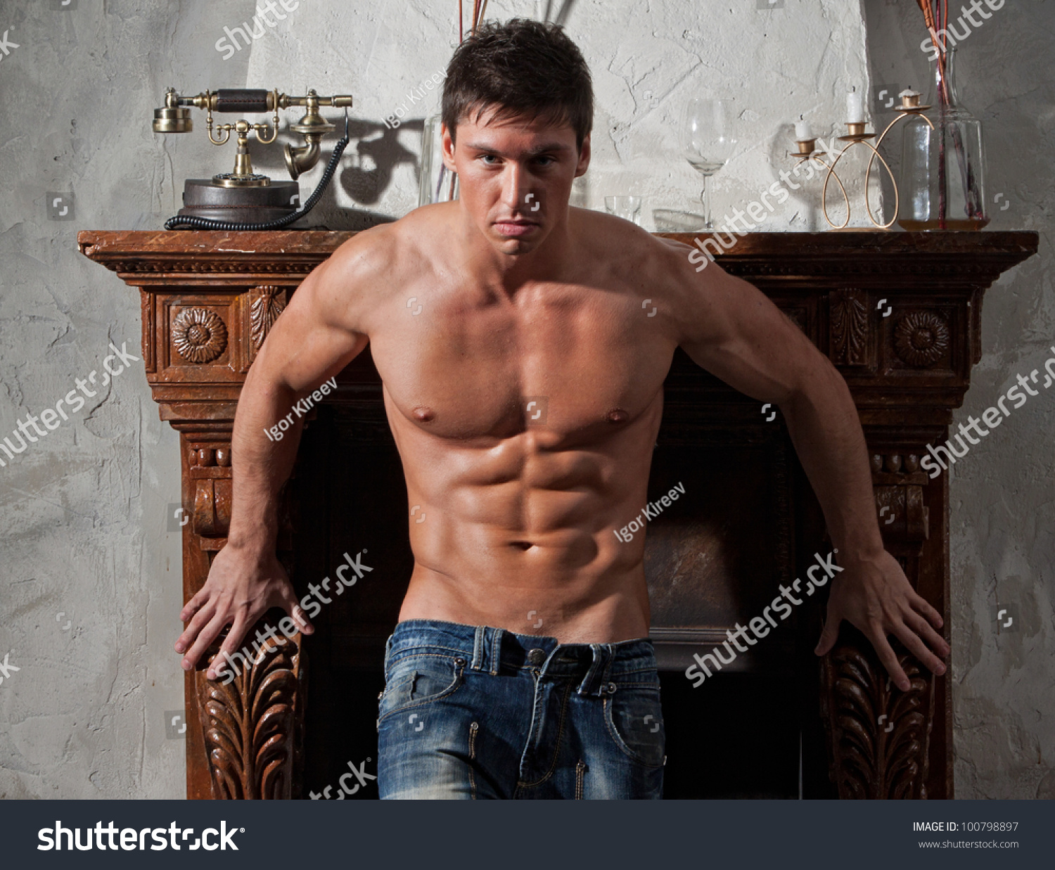 Muscular Young Bodybuilder Shirtless Outdoors Jeans Stock