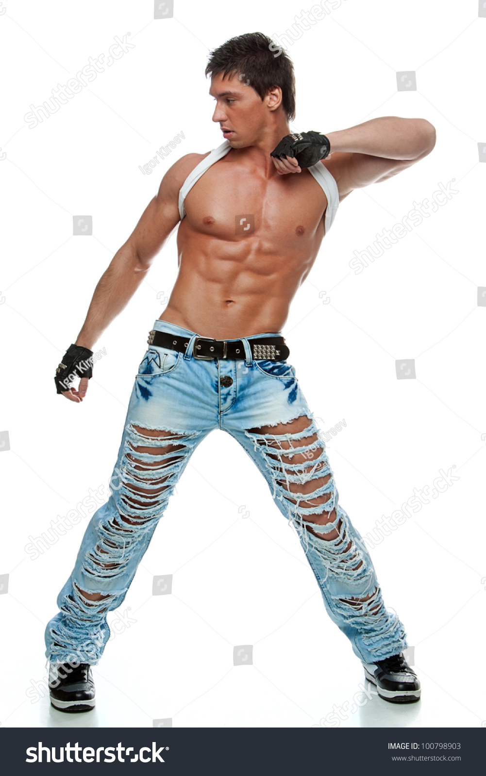 Muscular Relief Sexy Naked Man Posing Stock Photo