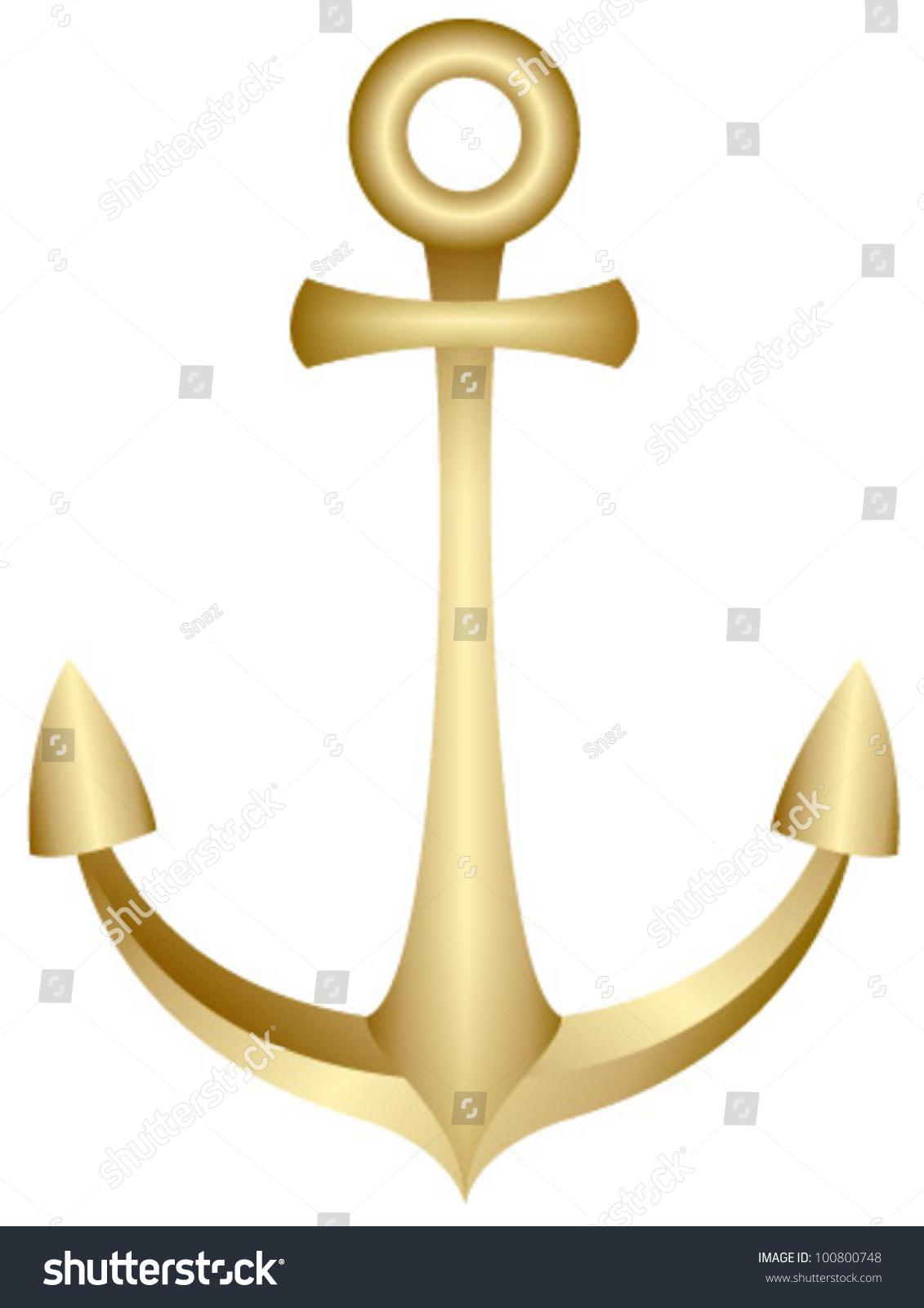 Gold Anchor Stock Vector 100800748