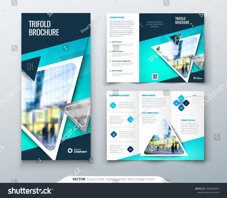 tri fold brochure design blue template stock vector royalty free