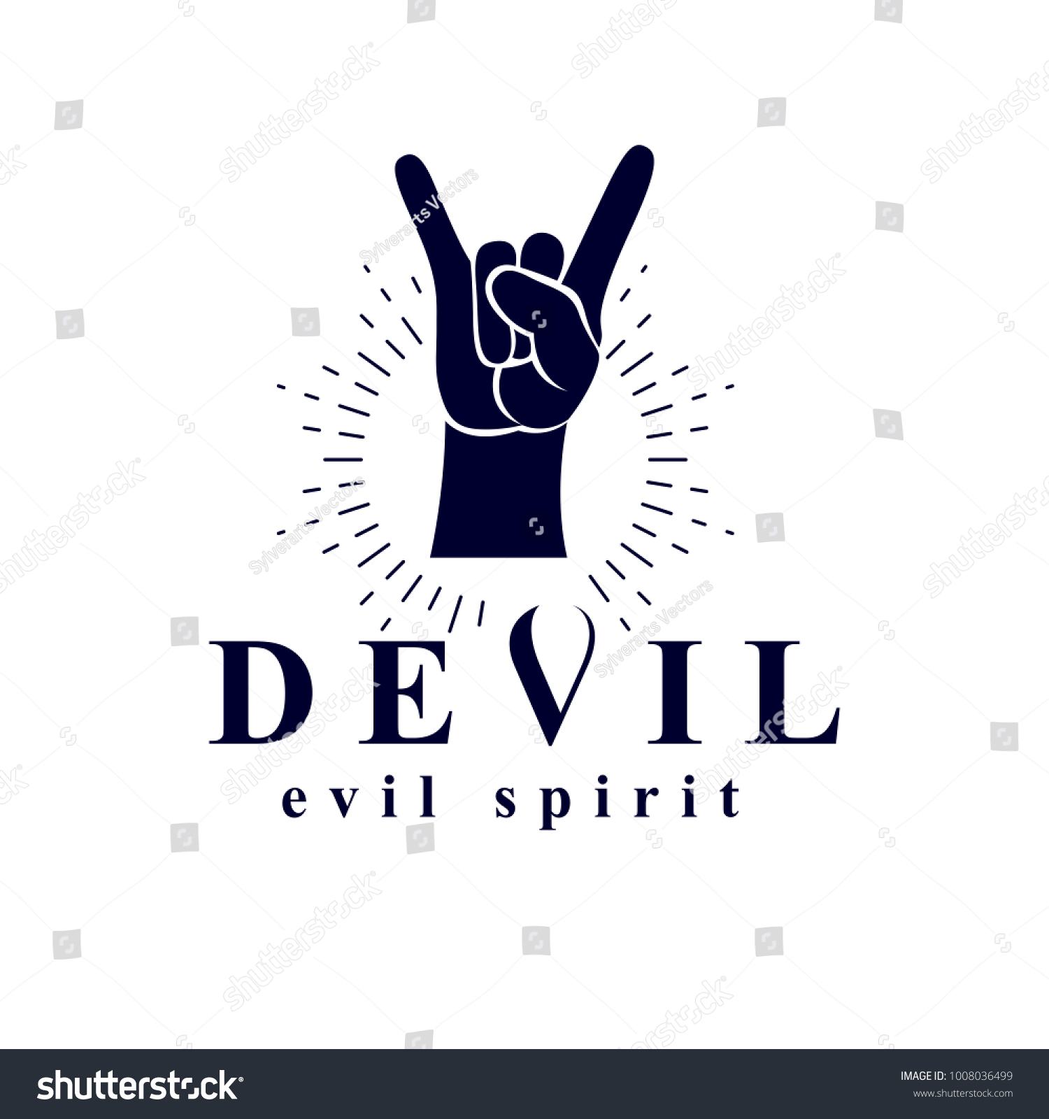 Rock on hand sign created devil stock vector 1008036499 shutterstock rock on hand sign created with a devil inscription evil spirit logo buycottarizona