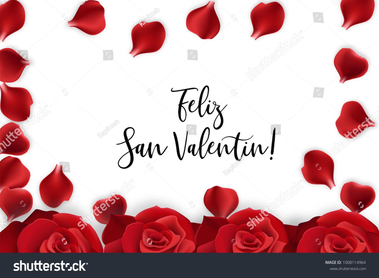 Feliz San Valentin Happy Valentines Day Stock Vector Royalty Free